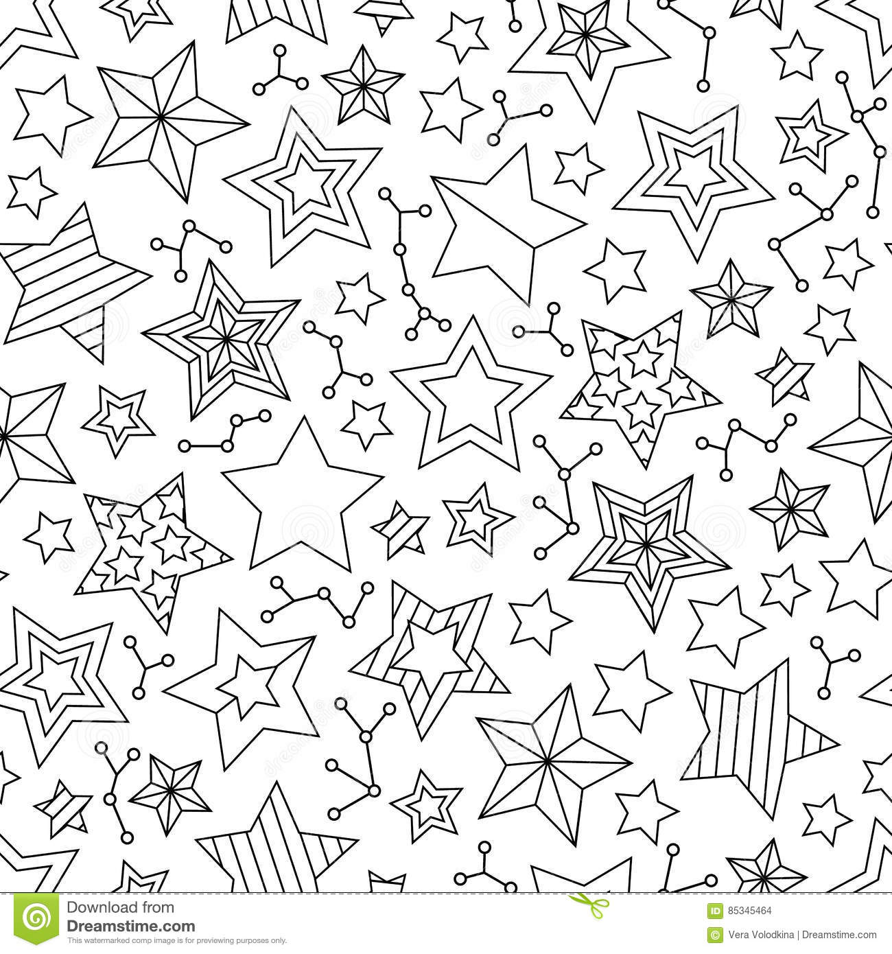 Seamless Pattern With Outline Stars. Coloring Book Page For Adults ...