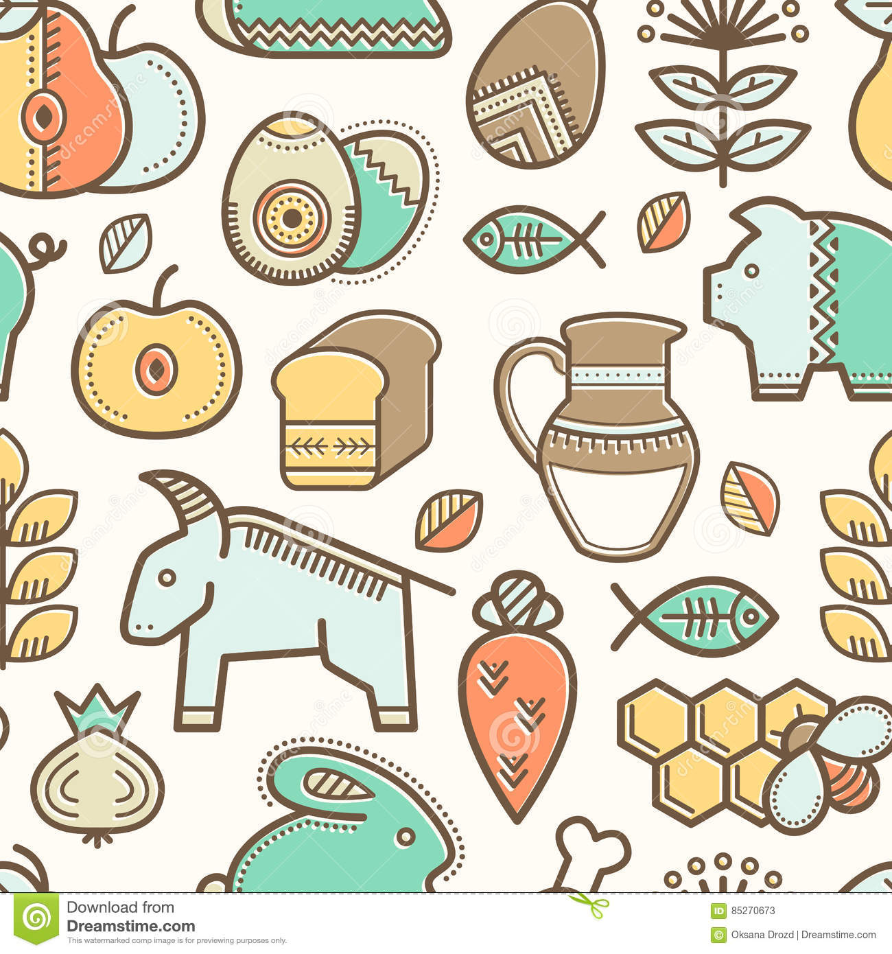 Seamless pattern with outlined food signs