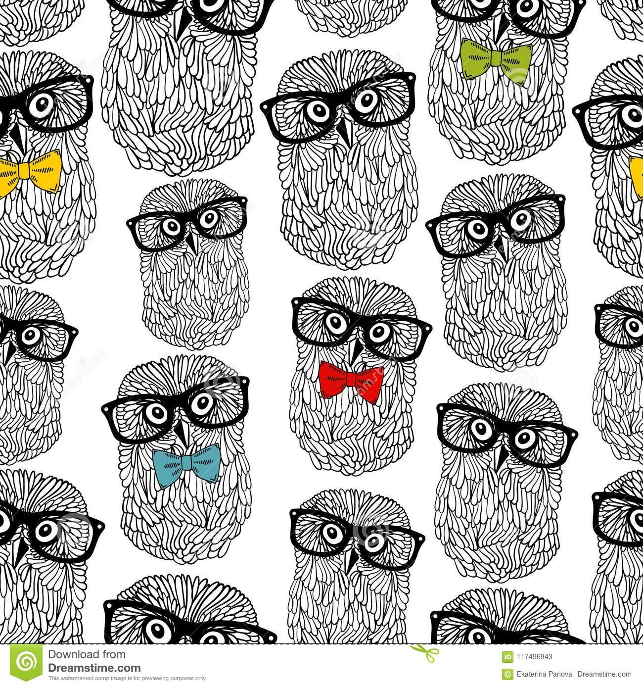 Seamless Pattern Of Owls In Hipster Style Isolated On White