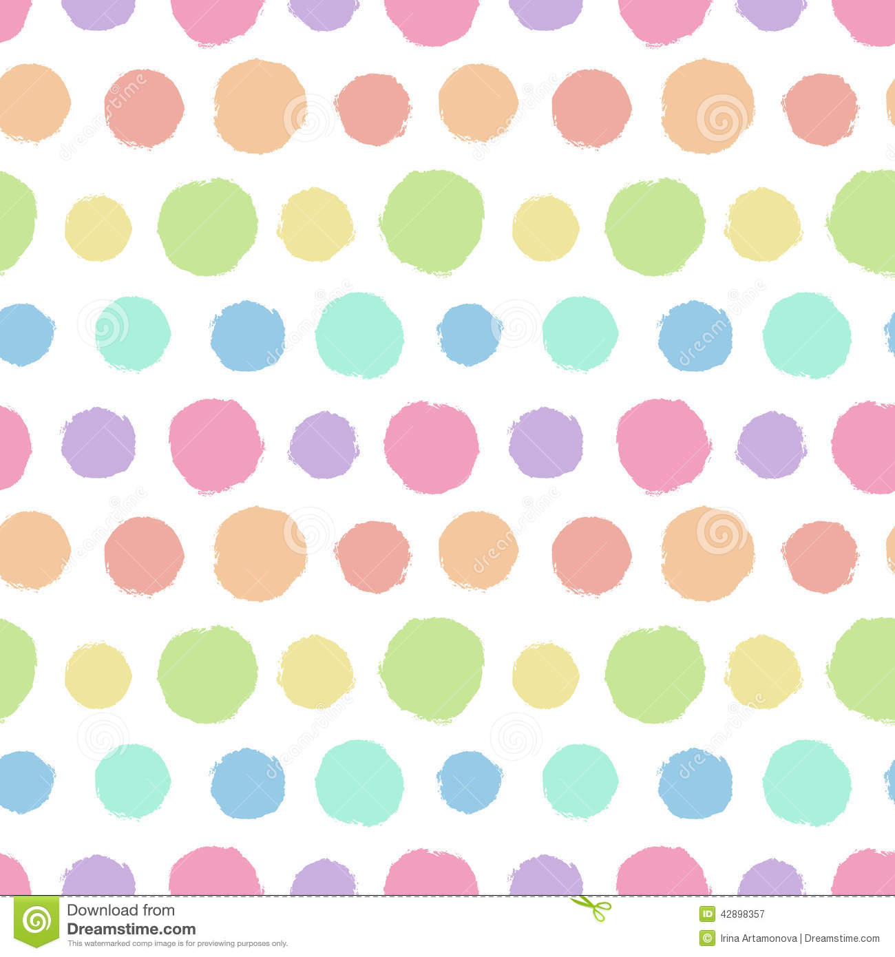seamless pattern with painted polka dot texture stock vector