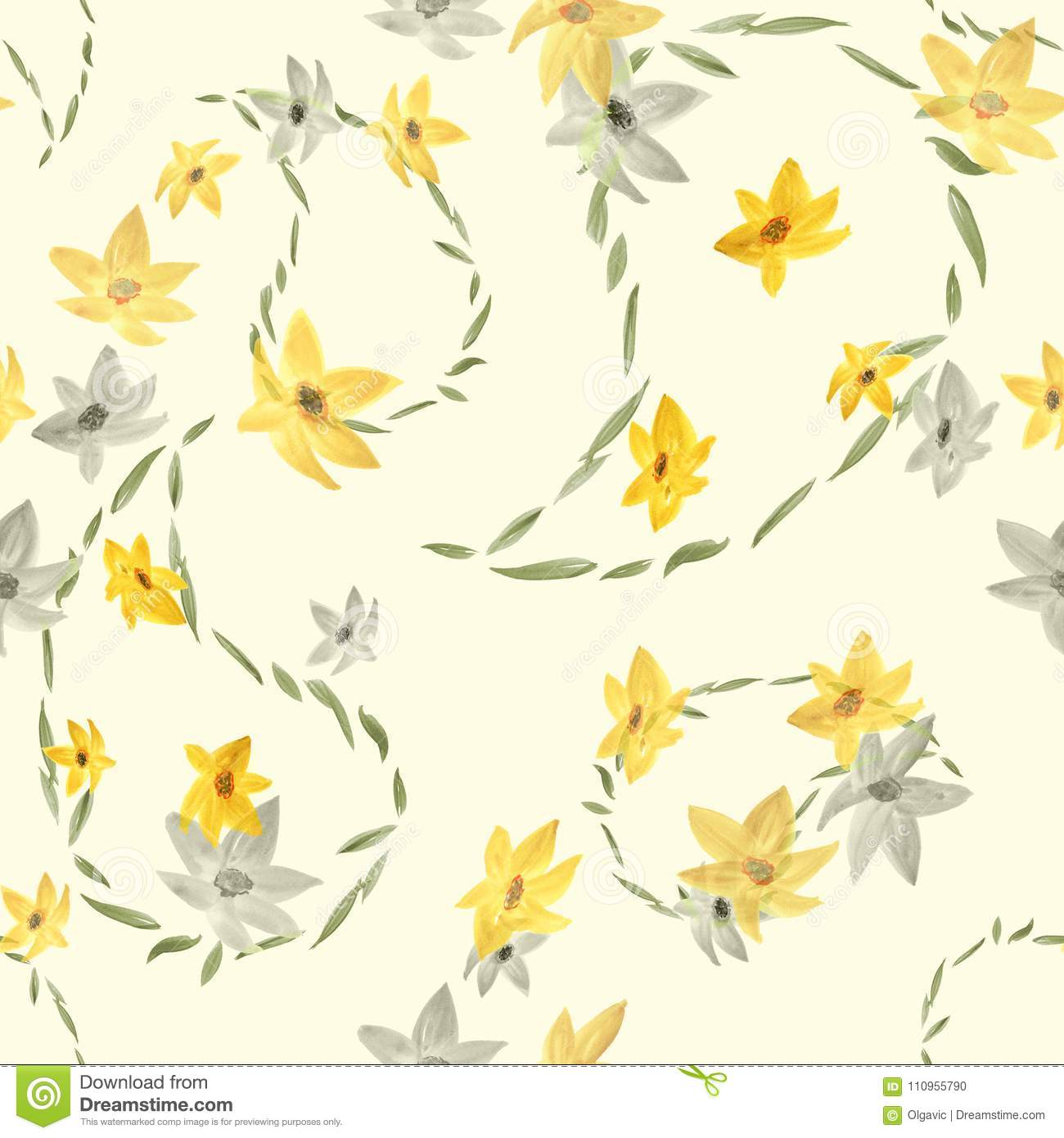 Seamless Pattern With Paisley And Beige And Gray Flowers On A Light