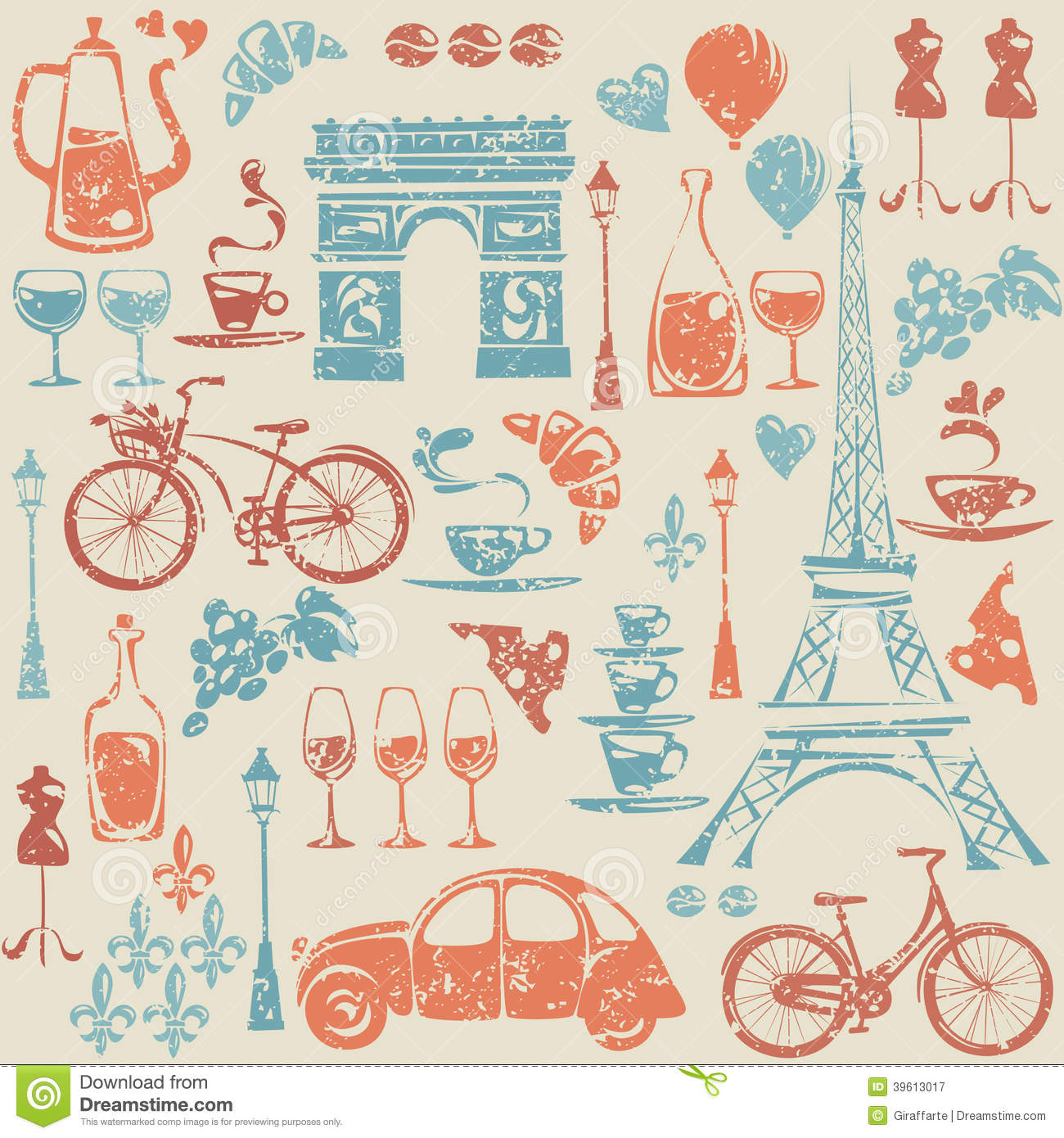seamless pattern with paris france elements stock. Black Bedroom Furniture Sets. Home Design Ideas
