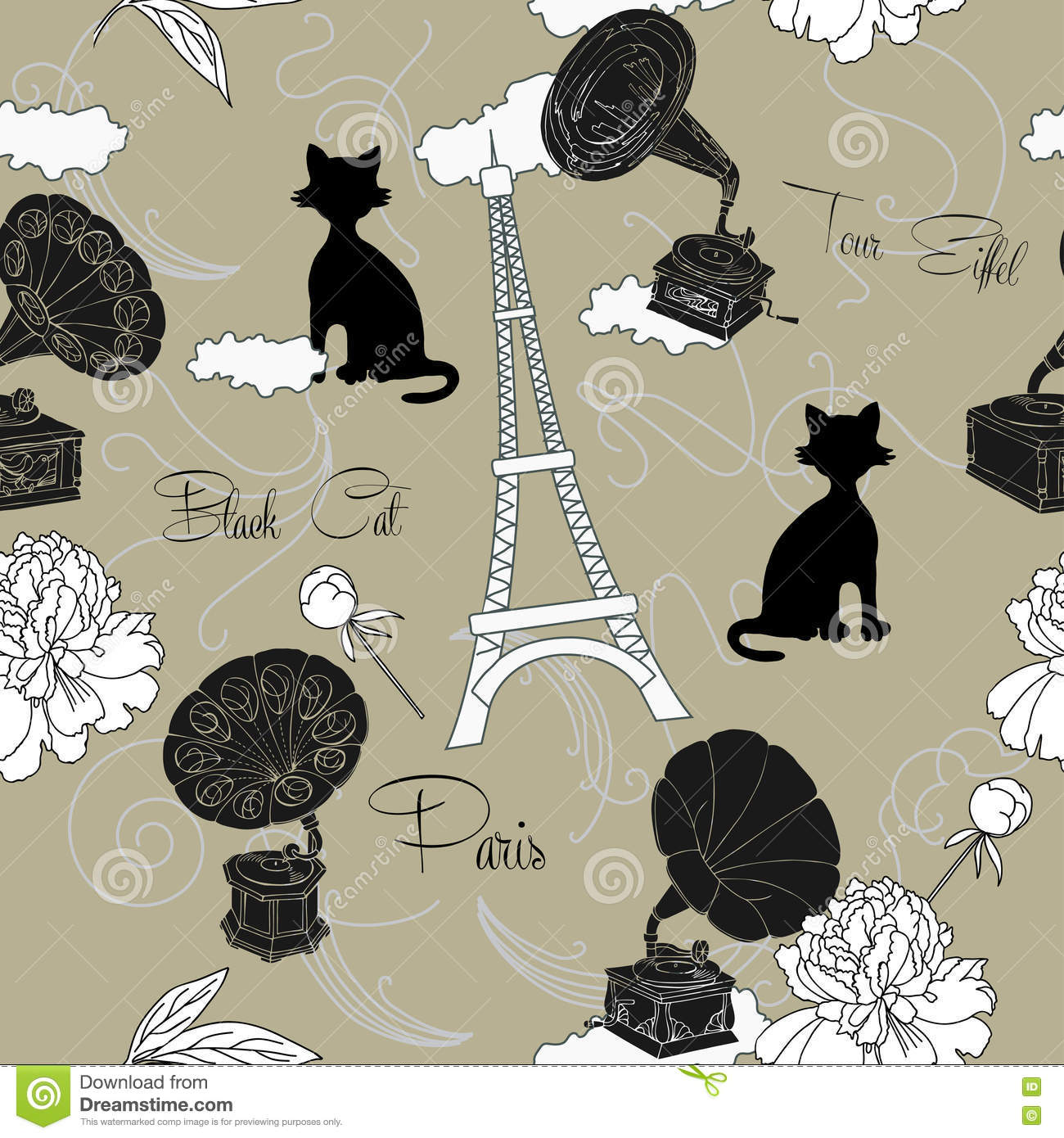 Seamless pattern with paris flowers and gramophone hand drawn sketches old record player vector music illustration