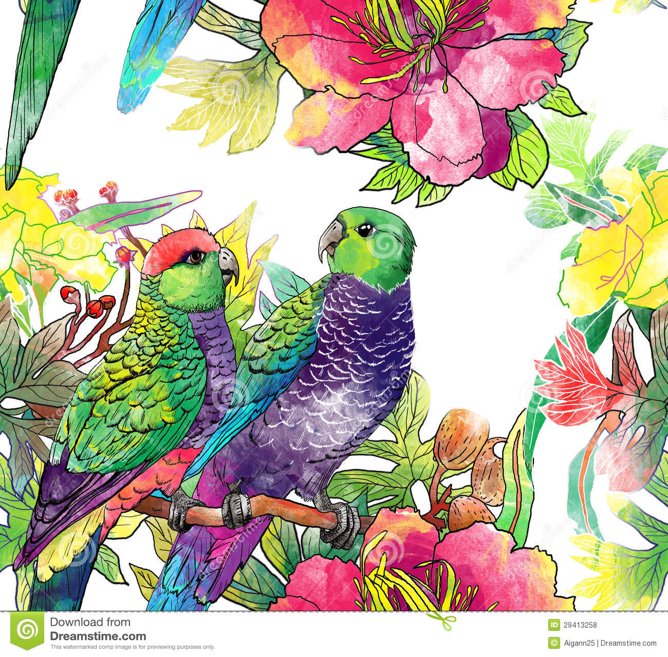 Royalty free stock photos seamless pattern with parrots and flowers