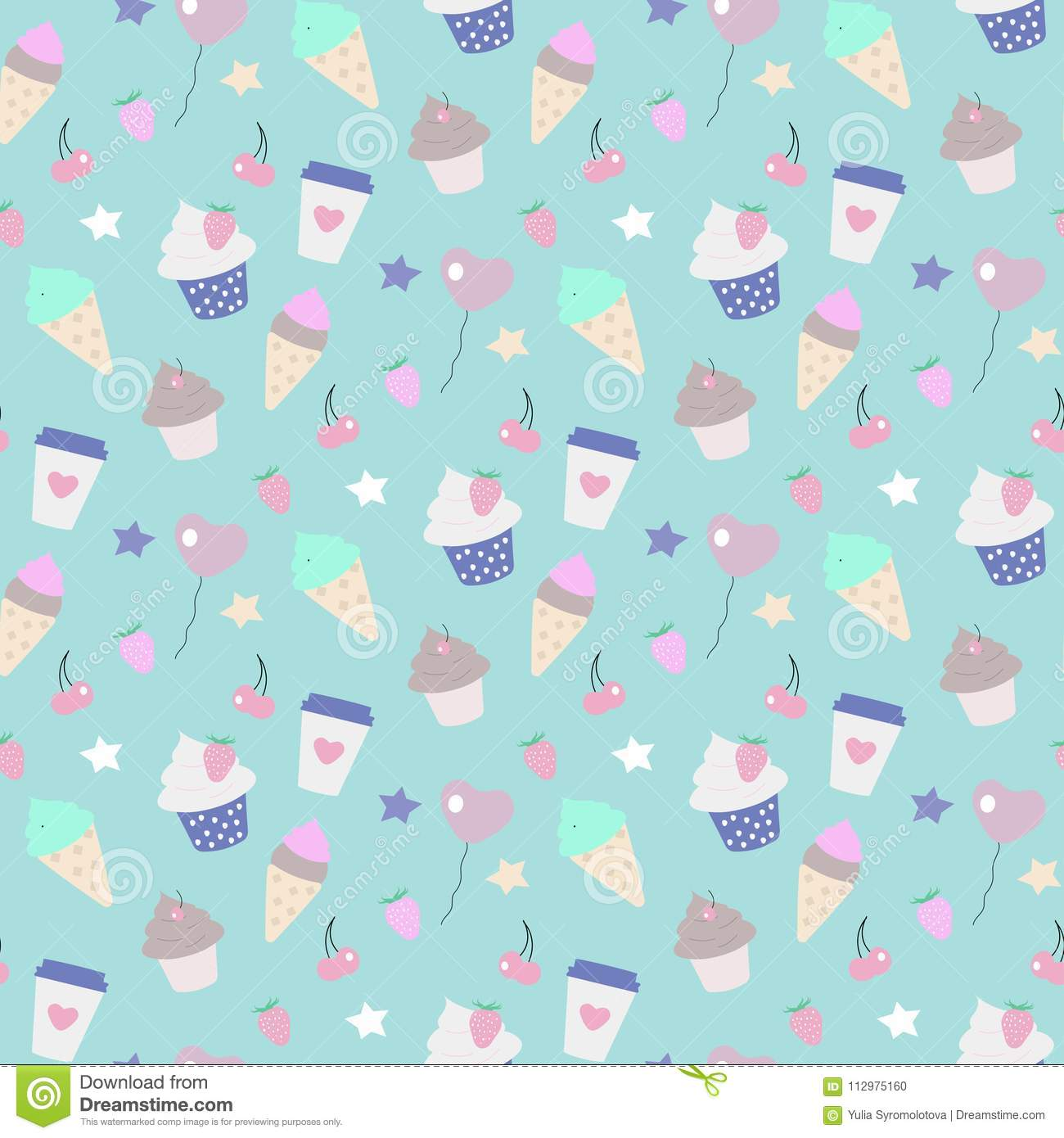 Seamless pattern party ice-cream