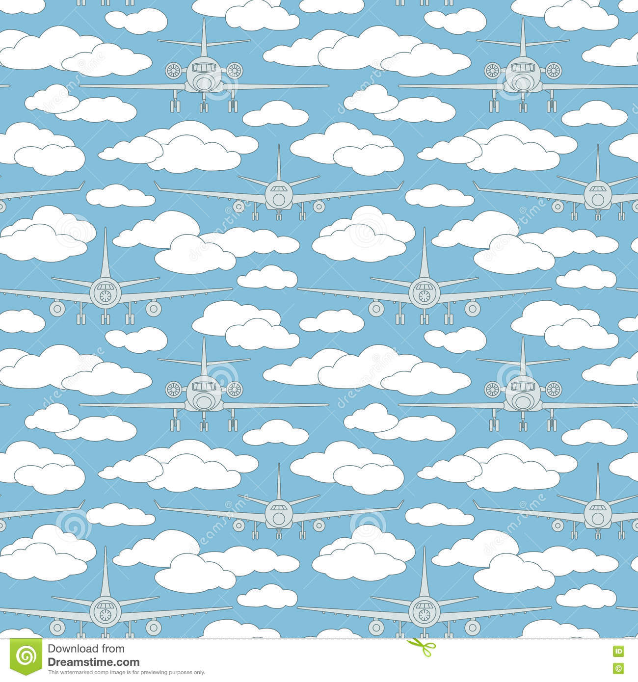 Seamless pattern with passenger airplanes number five