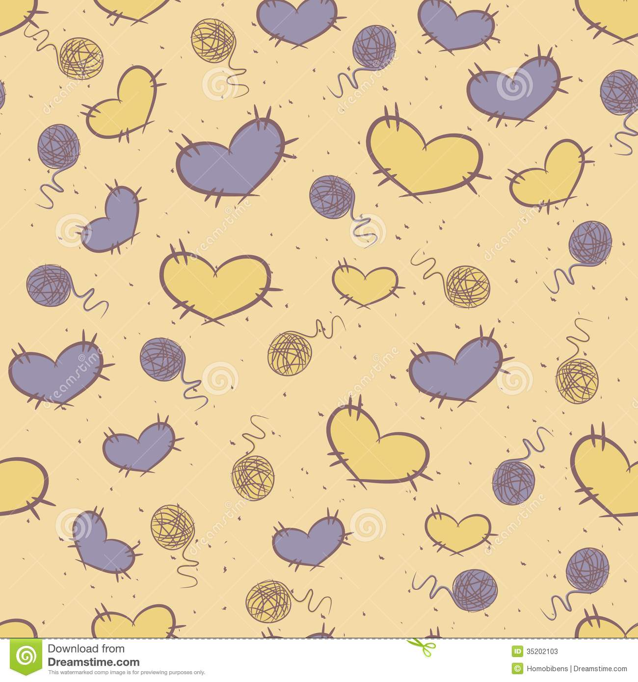 Seamless pattern with patches of hearts
