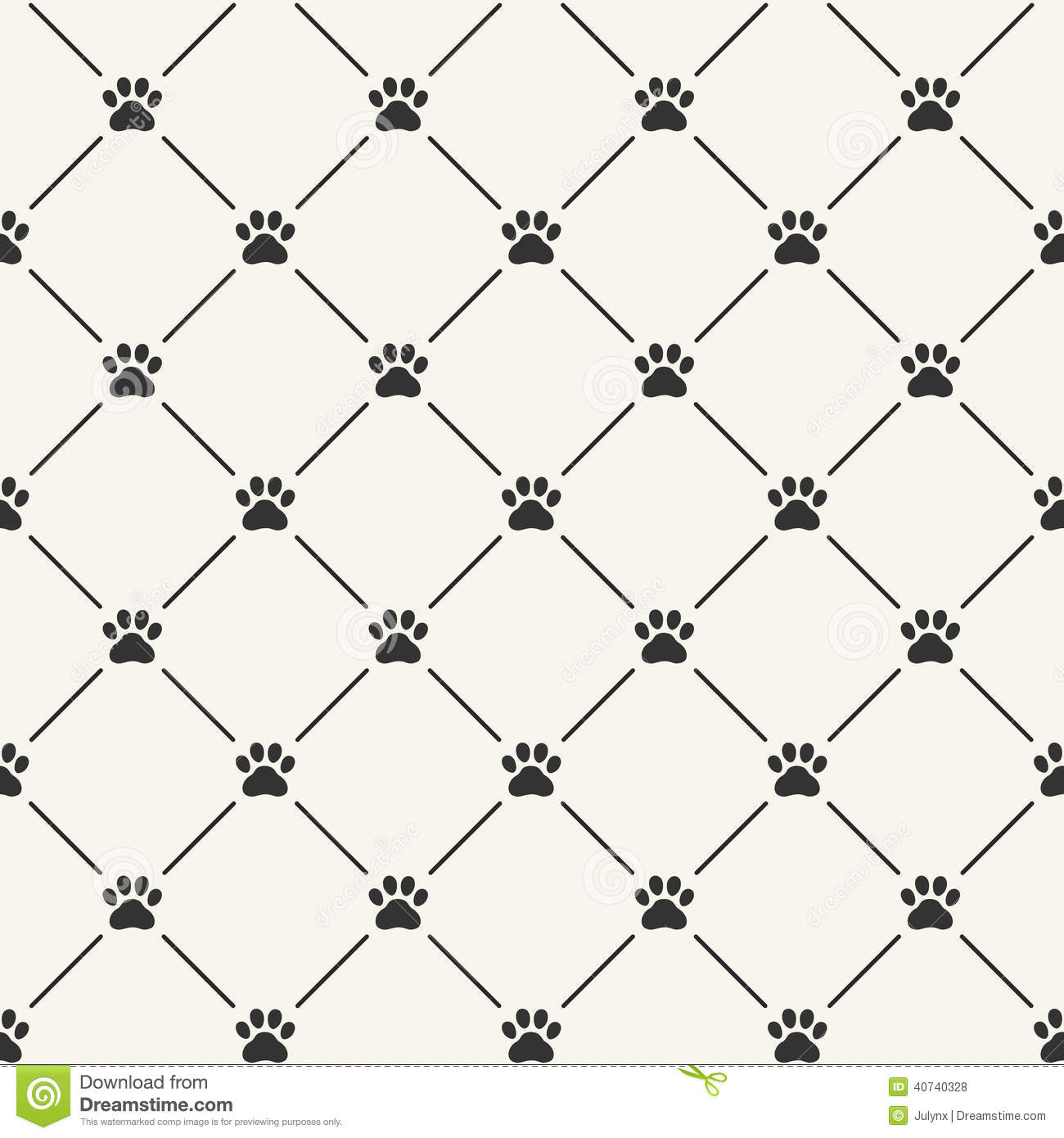 Seamless Pattern With Paw Prints Stock Vector