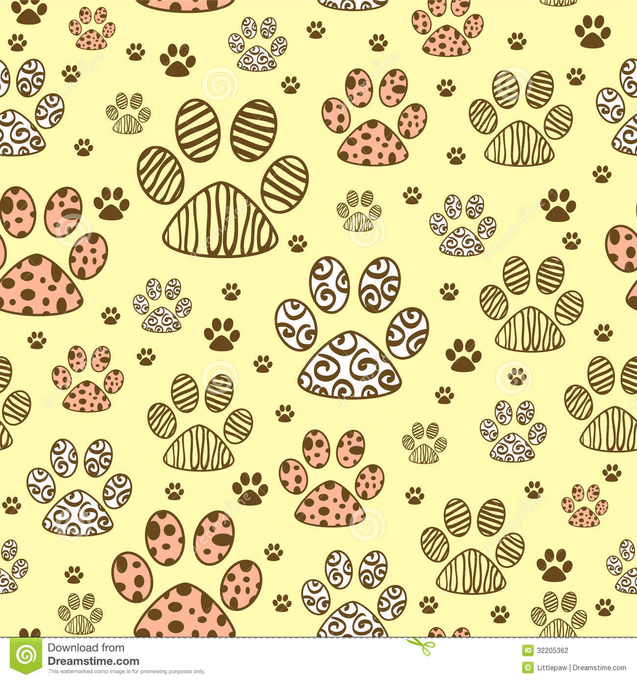 Seamless Pattern With Paws Stock Vector. Illustration Of