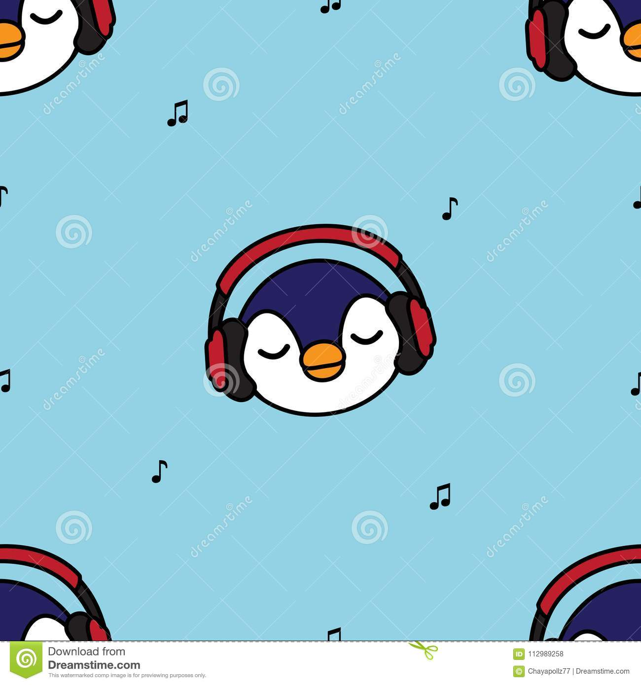 Seamless pattern penguin with red headphones