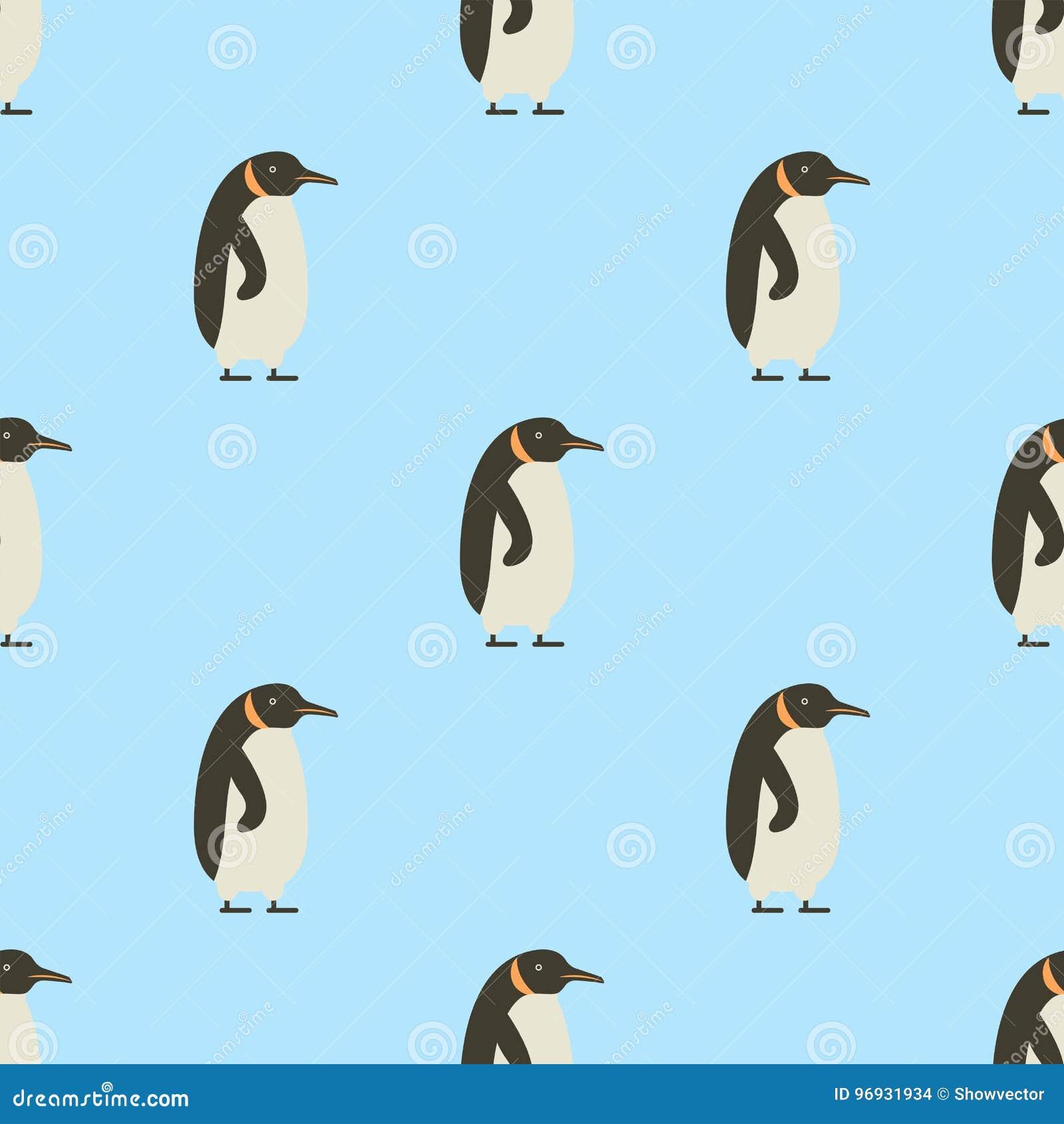 Seamless Pattern Of Penguins On Blue Background Winter Bird