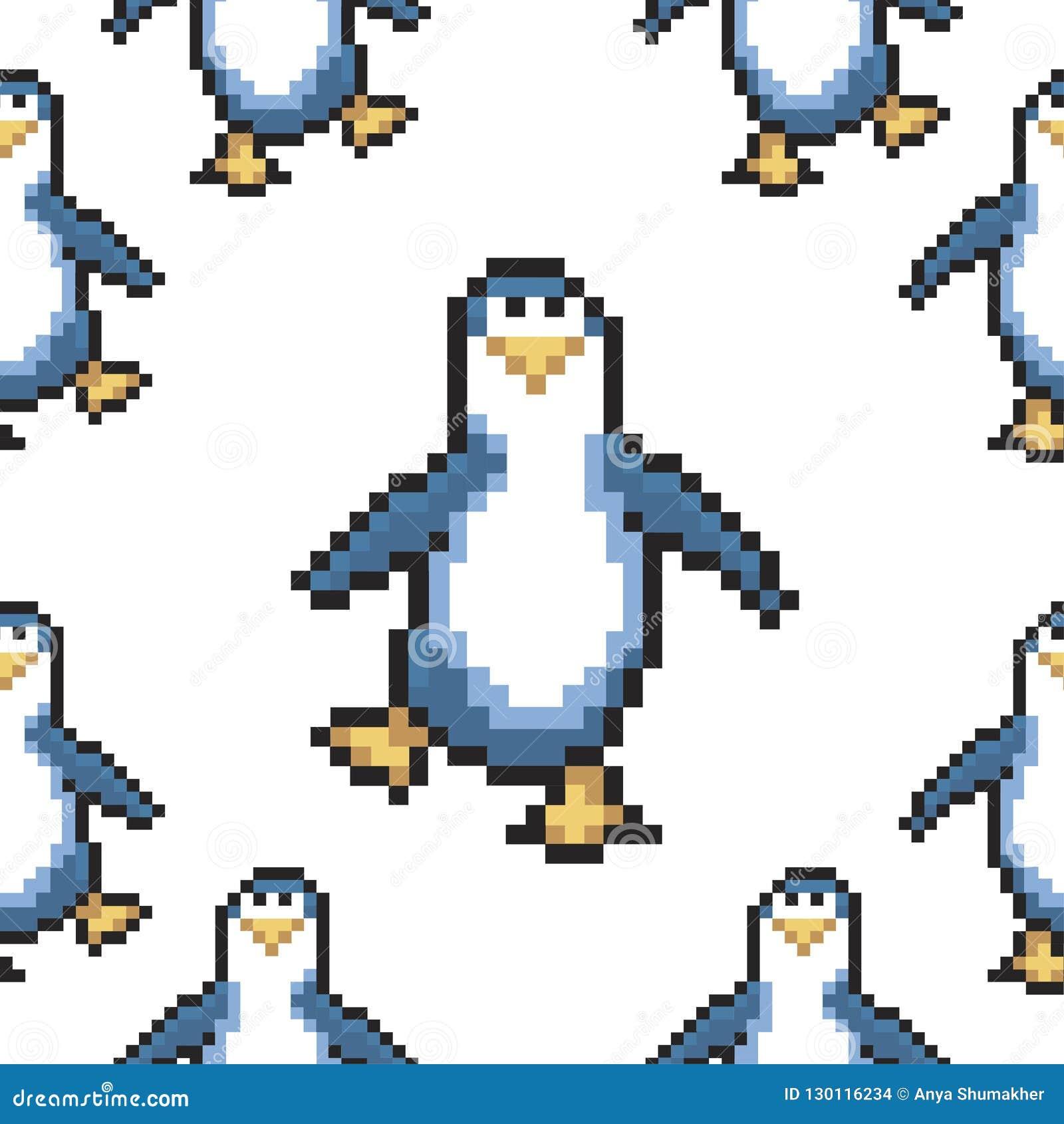 Seamless Pattern With Penguins Cute Pixel Penguins 8 Bit