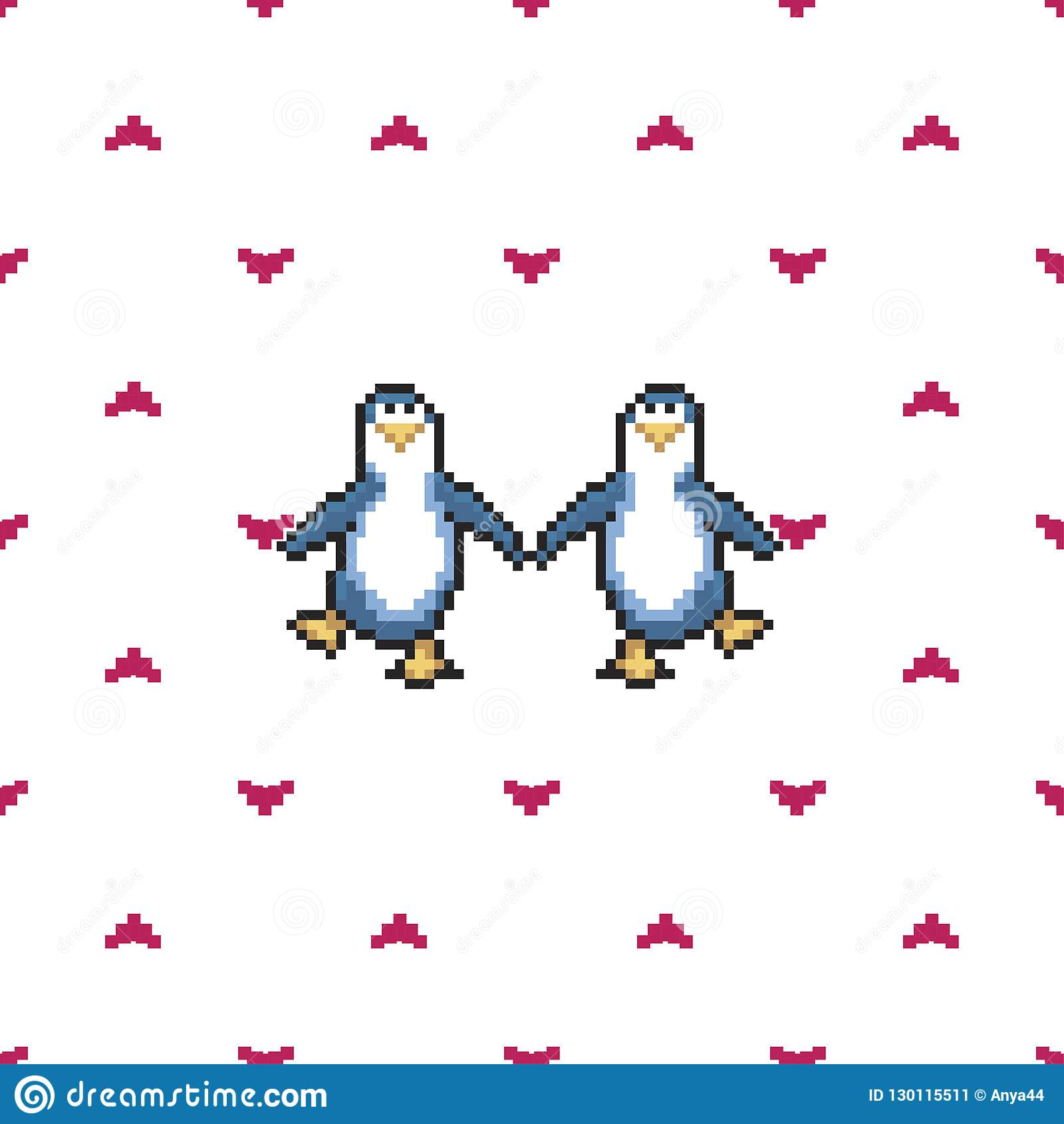 Seamless Pattern With Penguins In Love Cute Pixel Penguins