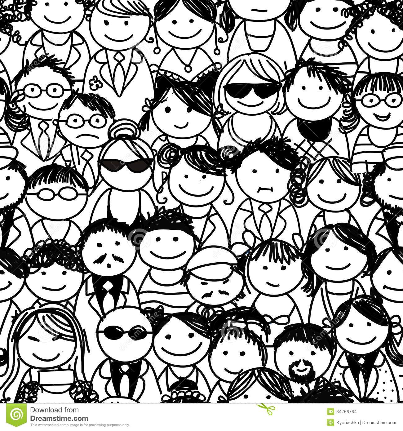 Crowd Of Indian Women Vector Avatars Stock Vector: Seamless Pattern With People Crowd For Your Design Stock