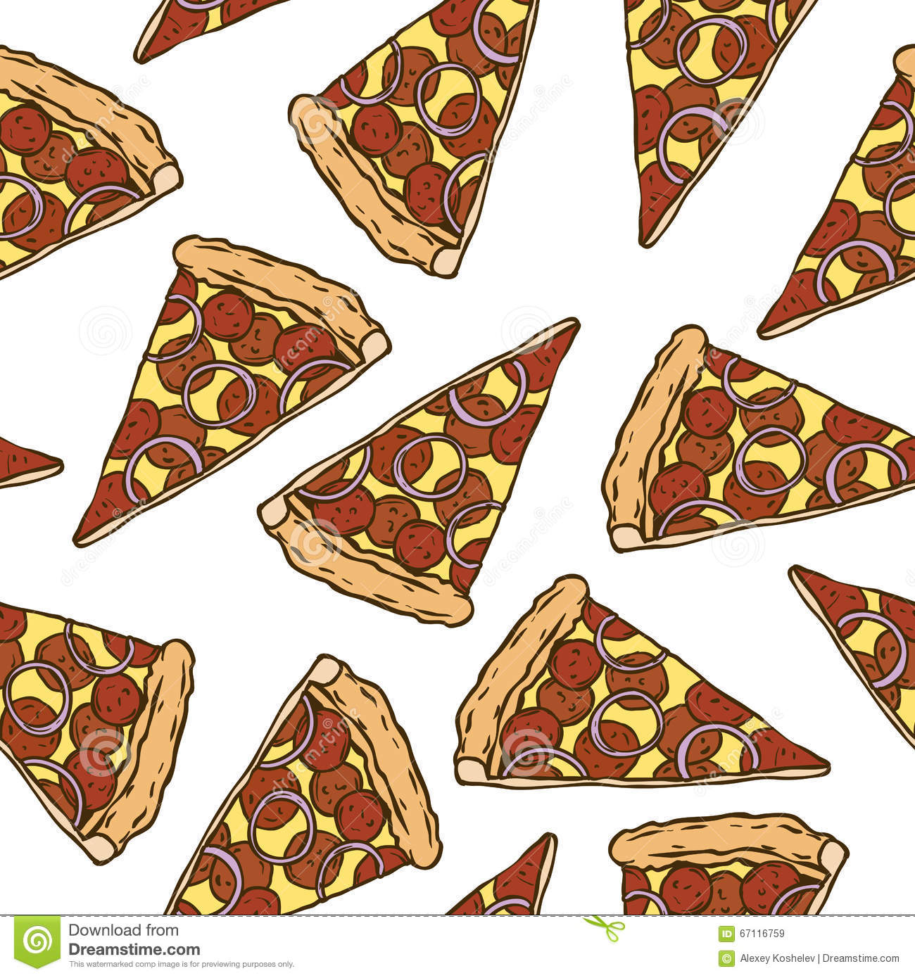 Seamless Pattern With Pepperoni Pizza Slices Stock Vector ...