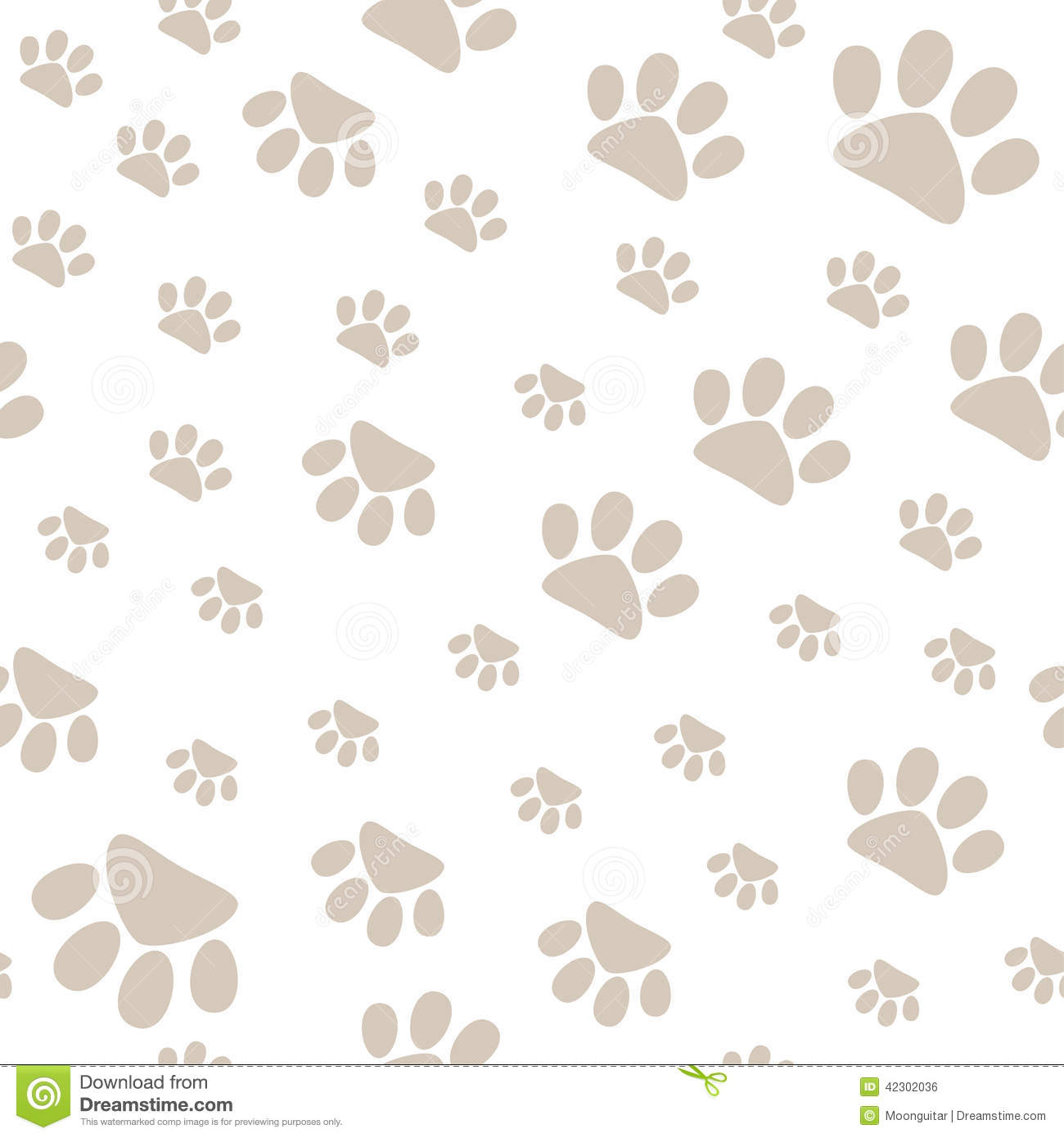 Seamless Pattern With Pet Paws Walking In Different Sides ...