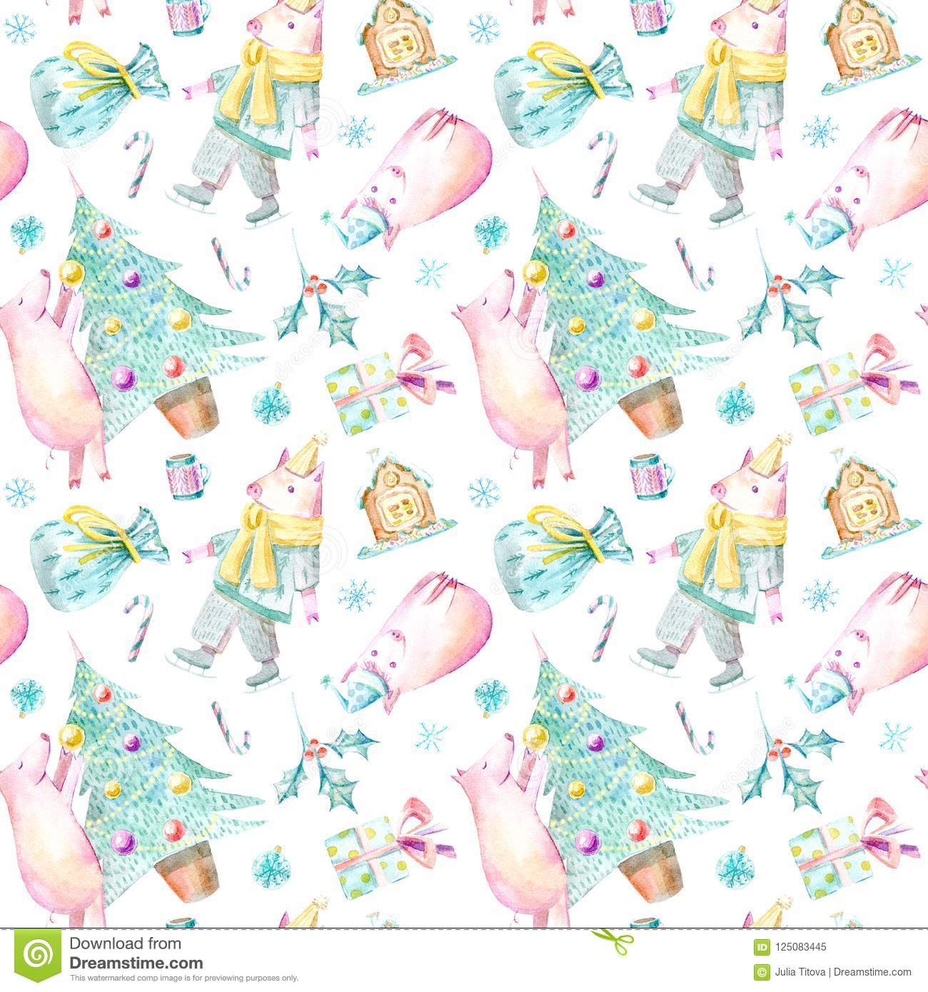 Seamless pattern of a pig, christmas tree, gingerbread, bag and gift.