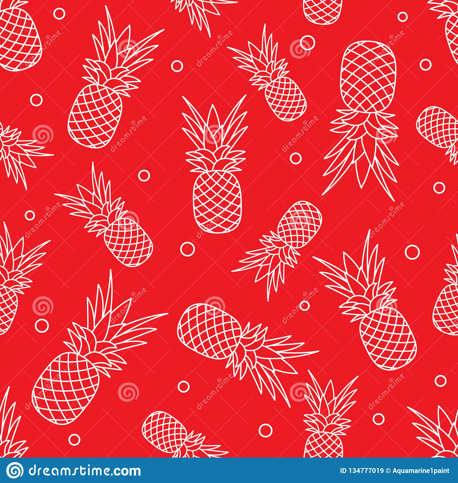 Seamless pattern with pineapples. Tropical fruit