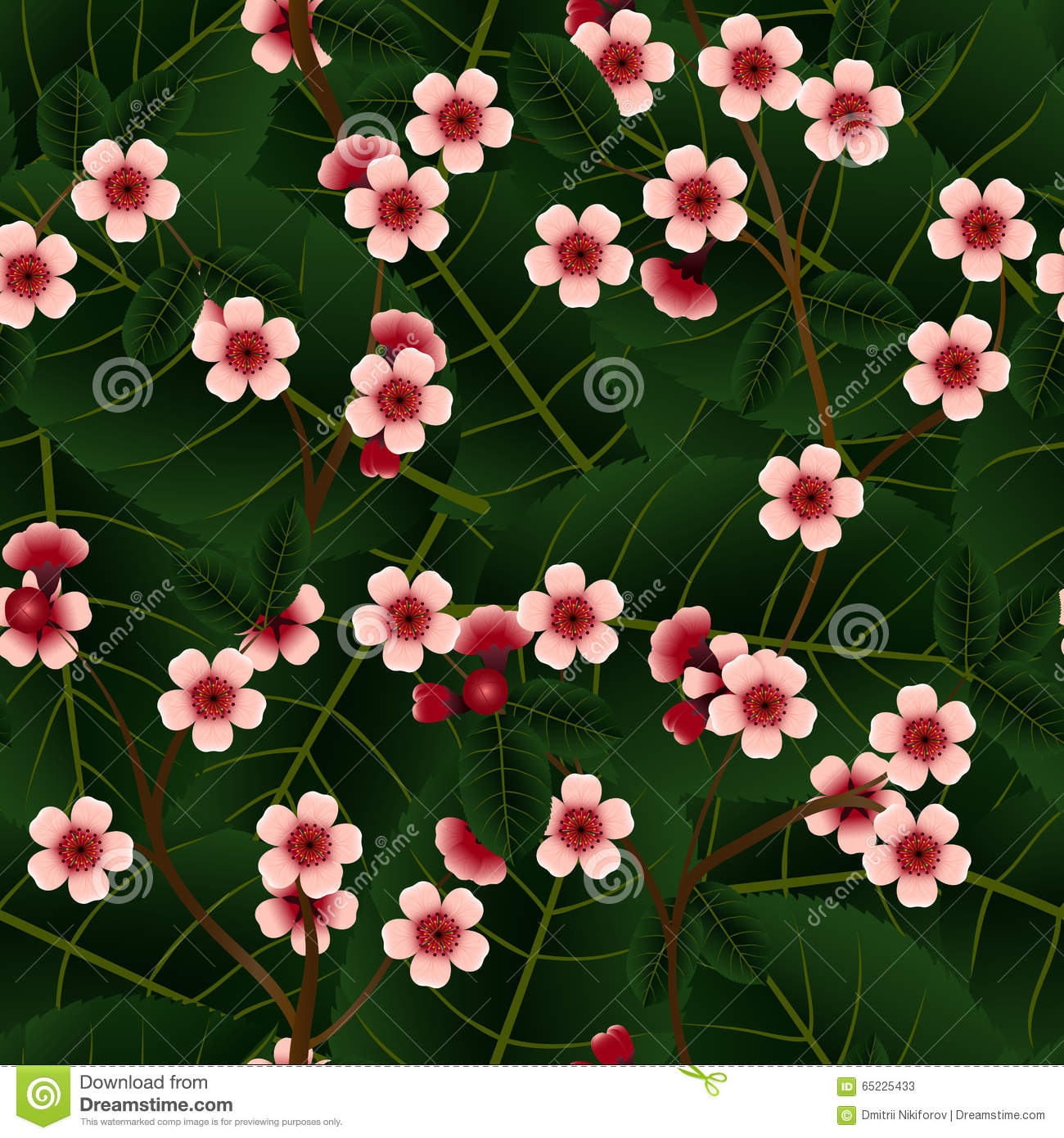 Seamless pattern with pink cherry flowers and leaf