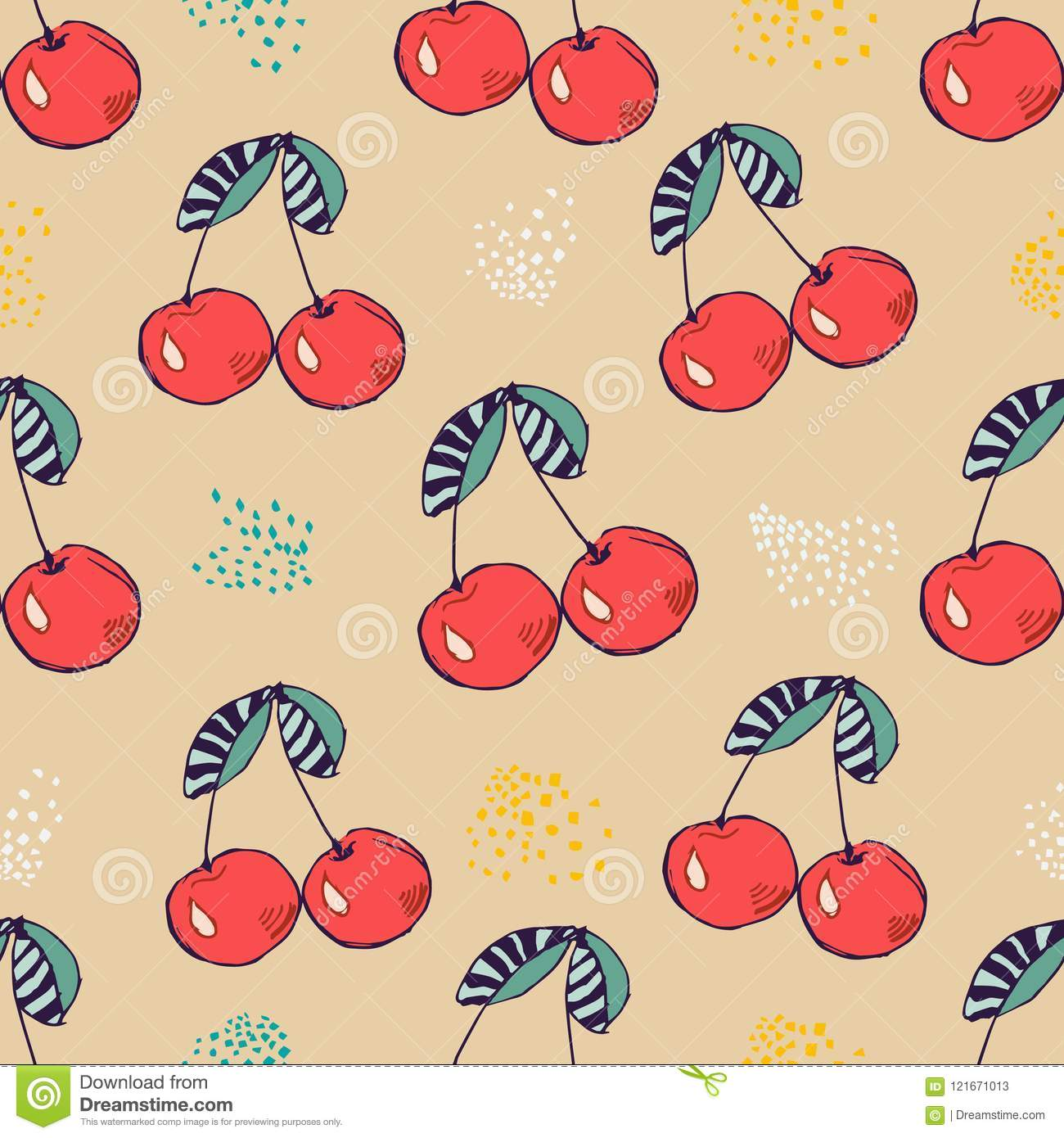 Seamless Pattern Of Pink Cherry. Vector Illustration For Design ...