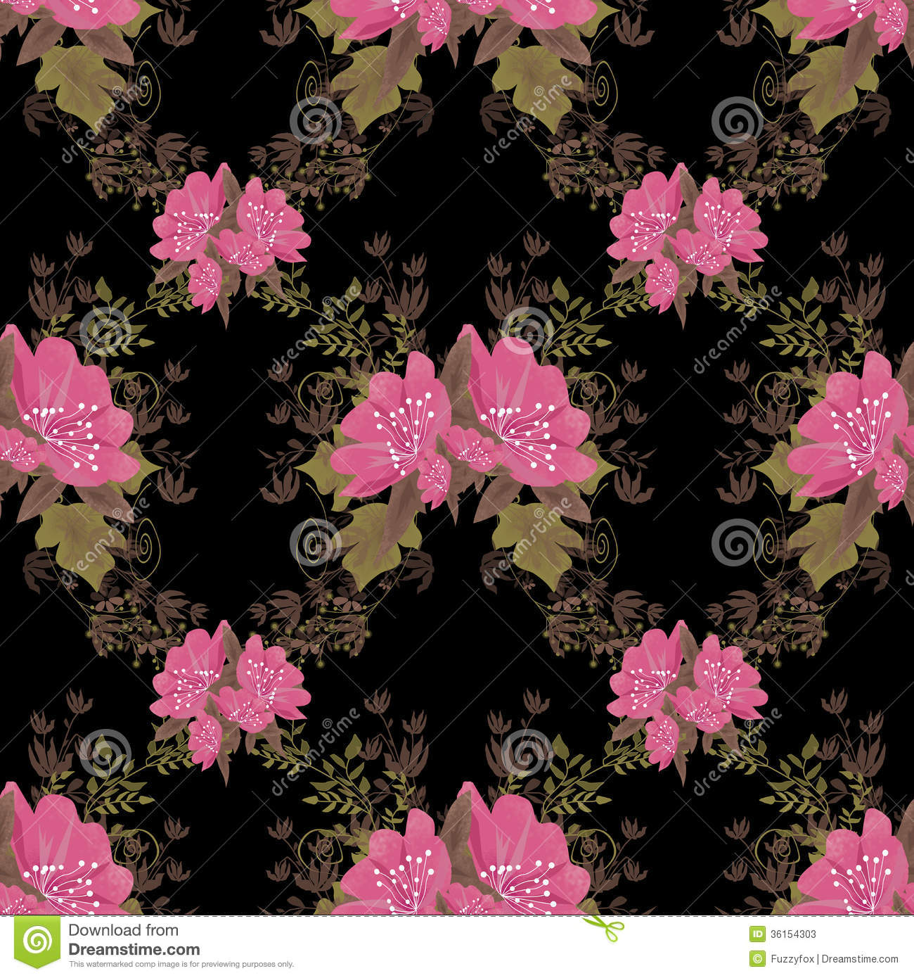 Black Background With Pink Flowers