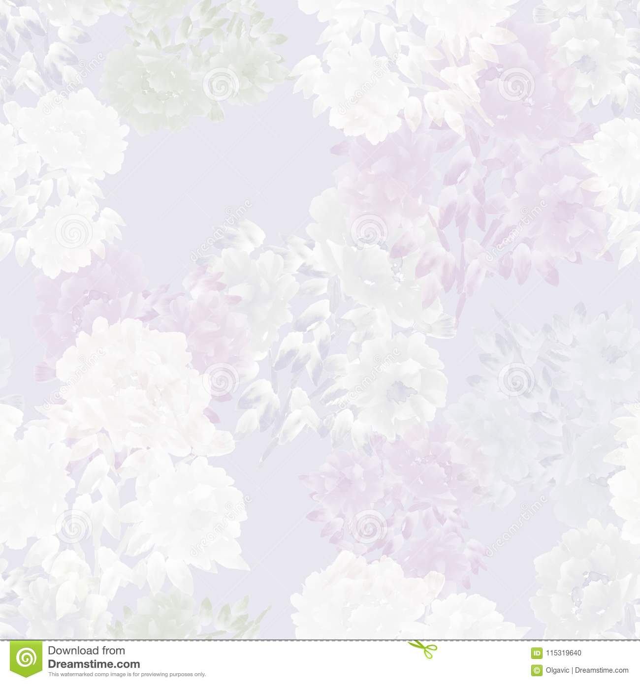 Seamless Pattern Of Pink Flowers Of Peonies On A Light Pink