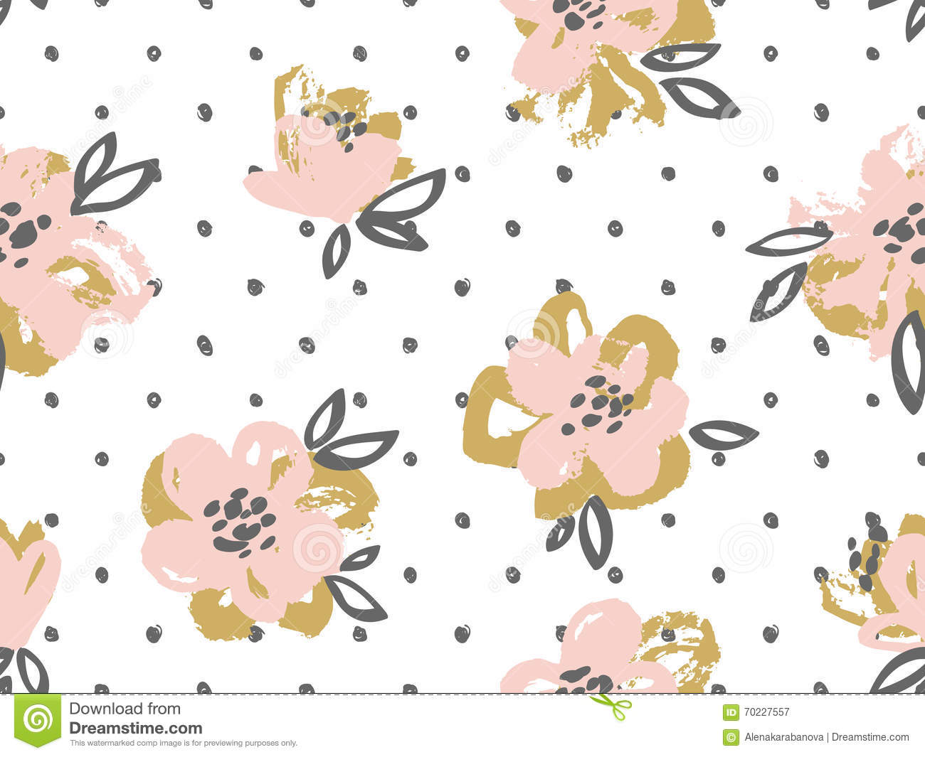 Seamless Pattern With Pink And Gold Flowers On The Polka Dot
