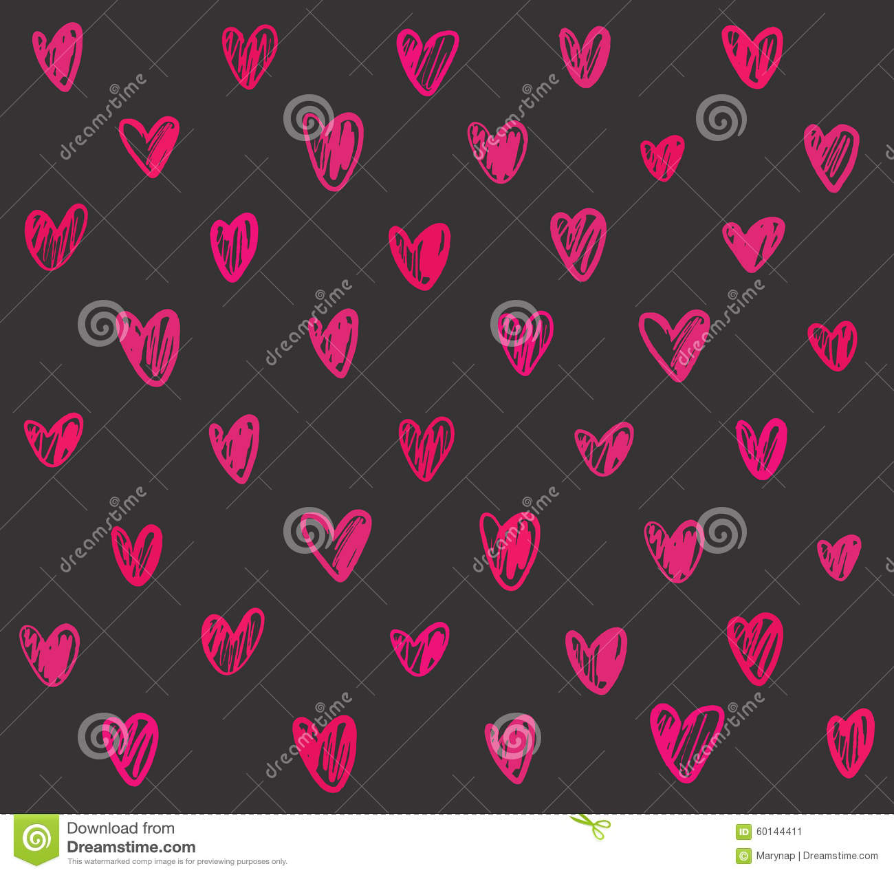 Gray And Pink Hearts: Seamless Pattern With Pink Hand Drawn Hearts On Dark Grey