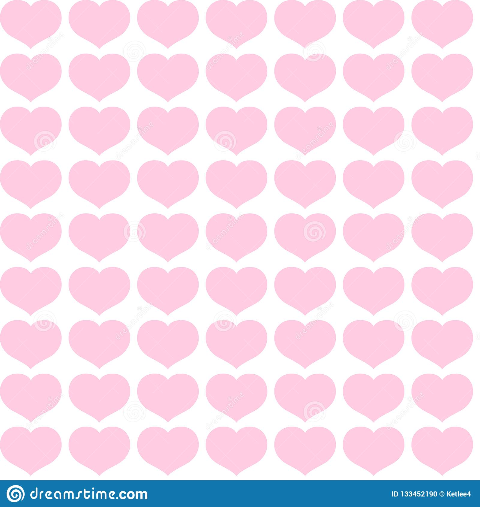 Seamless pattern from pink hearts on a white background Decorative ornament of hearts for design of templates greeting cards