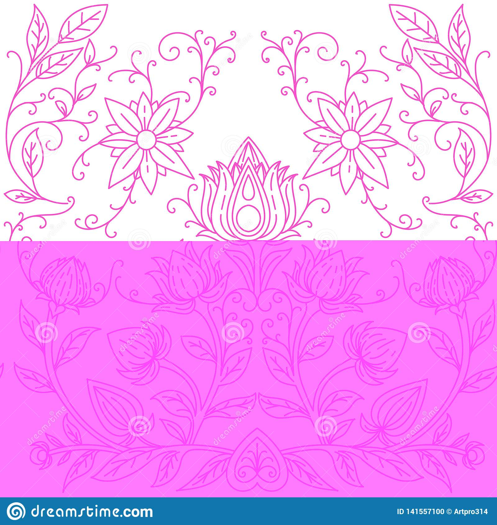 Seamless pattern pink irises on a white blue-purple backgroundSymmetrical pattern of flowers. Print for textiles. Vector