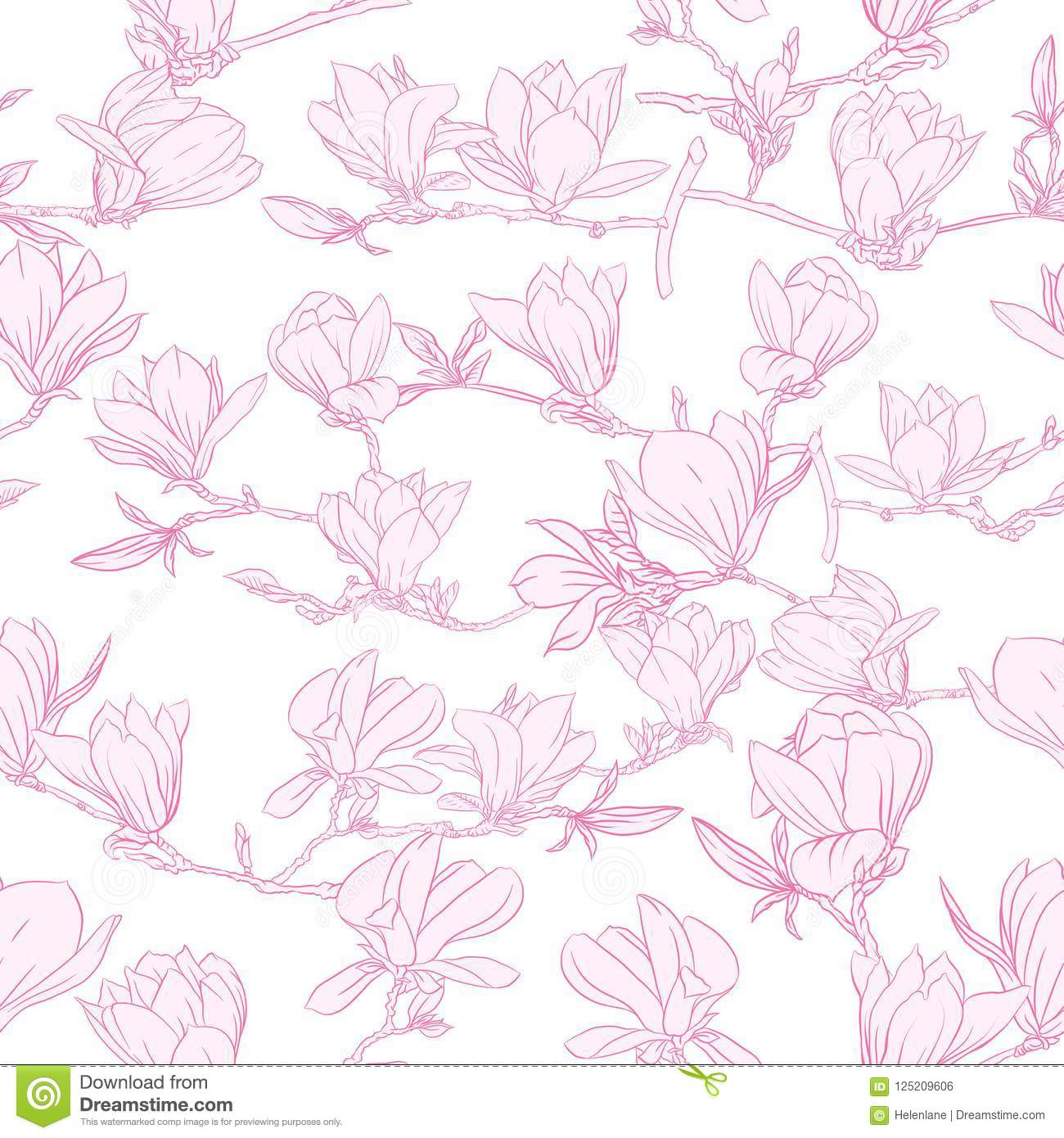 Seamless Pattern With Pink Magnolia Flowers Vector Illustration
