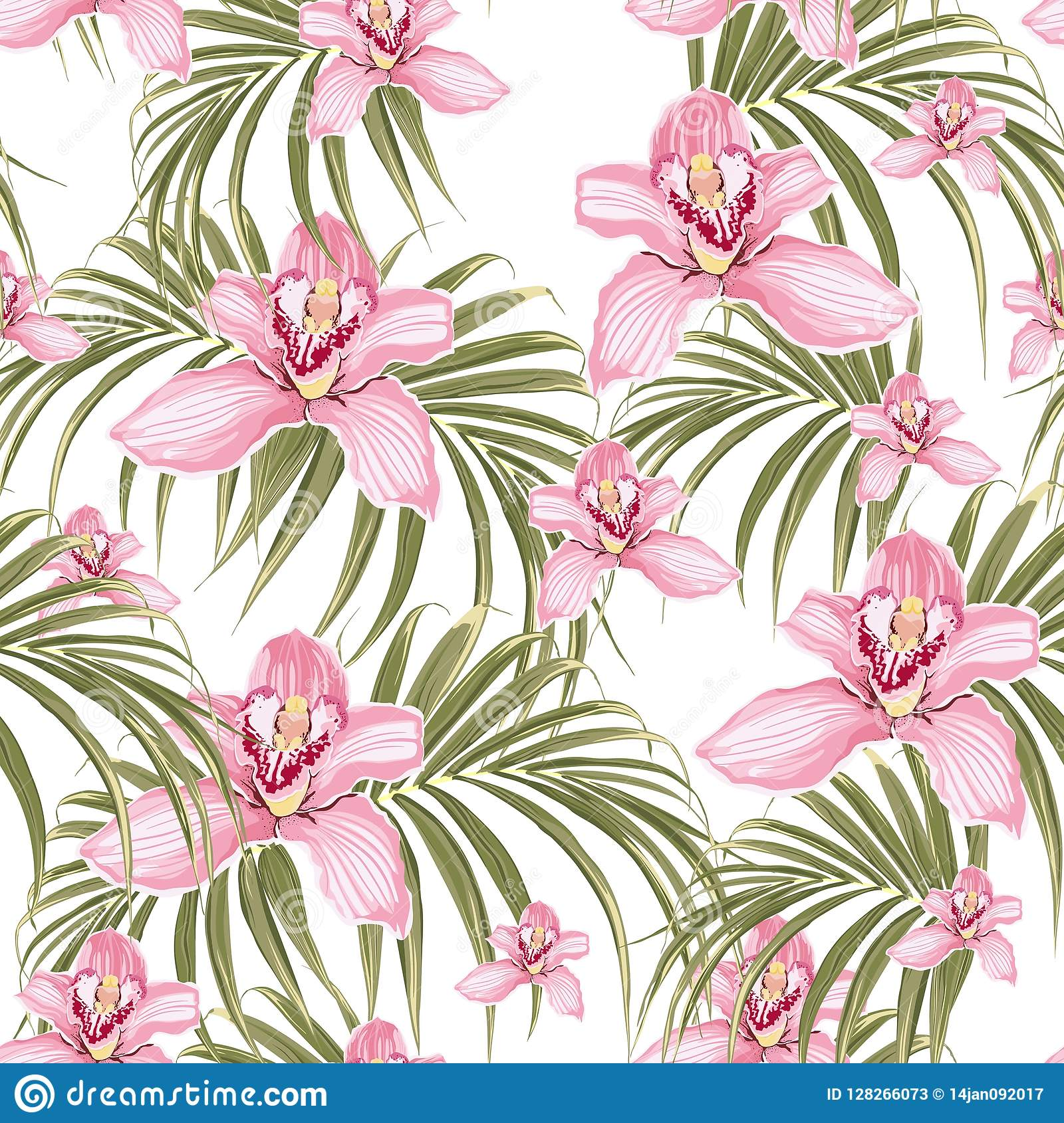 Seamless pattern of pink orchid flower and tropical palm leaves on white background.