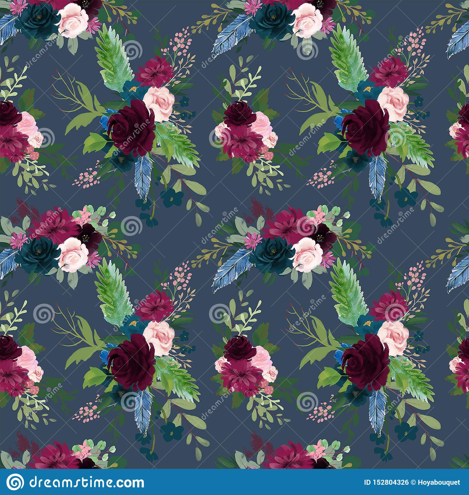 Seamless Pattern With Pink Red Burgundy Marsala Navy Blue Flowers