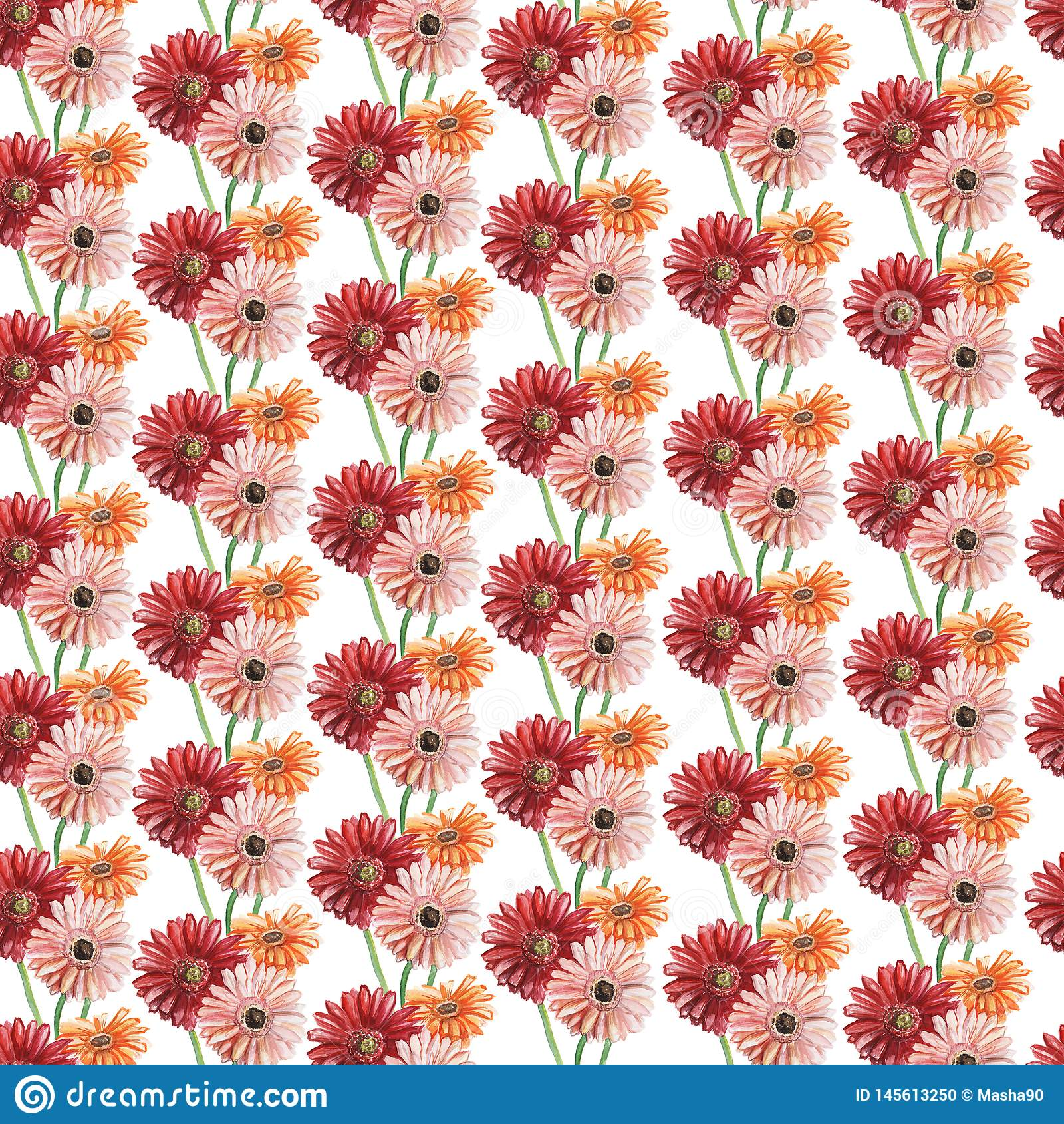 Seamless pattern with pink, red and orange gerberas. Watercolor illustration.