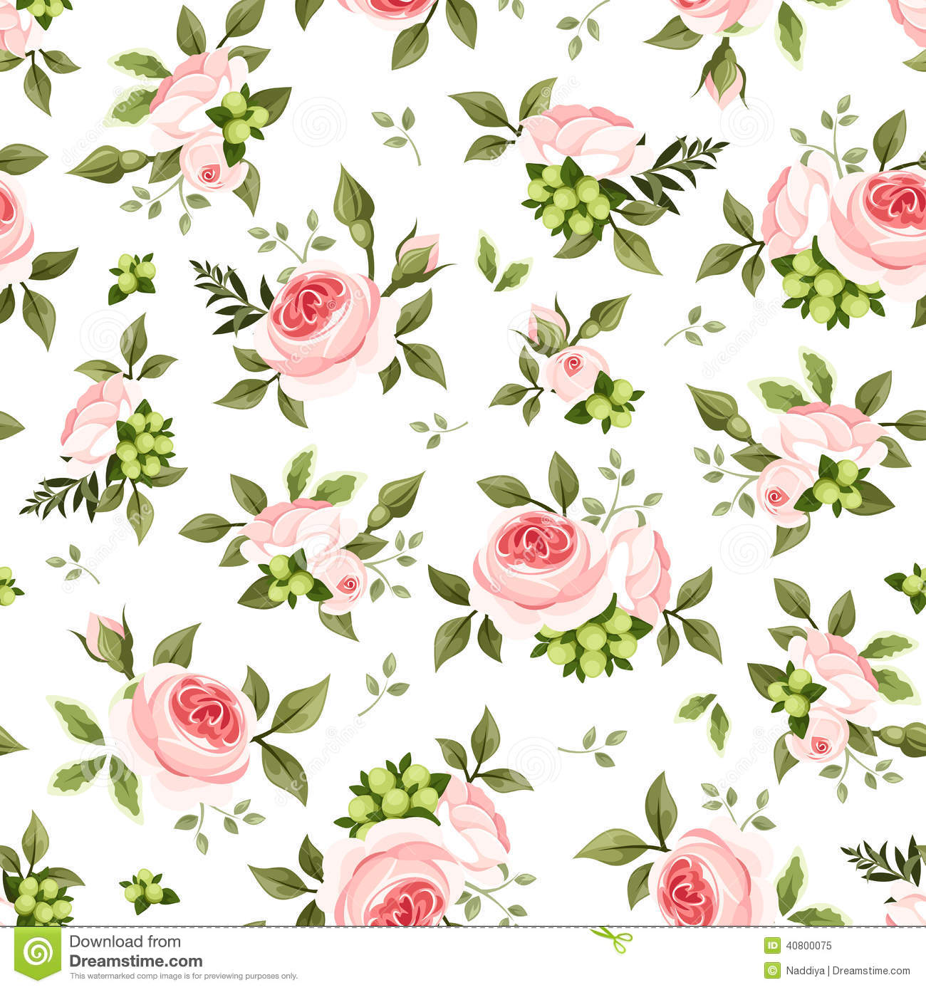 Seamless Pattern With Pink Roses And Green Leaves. Vector