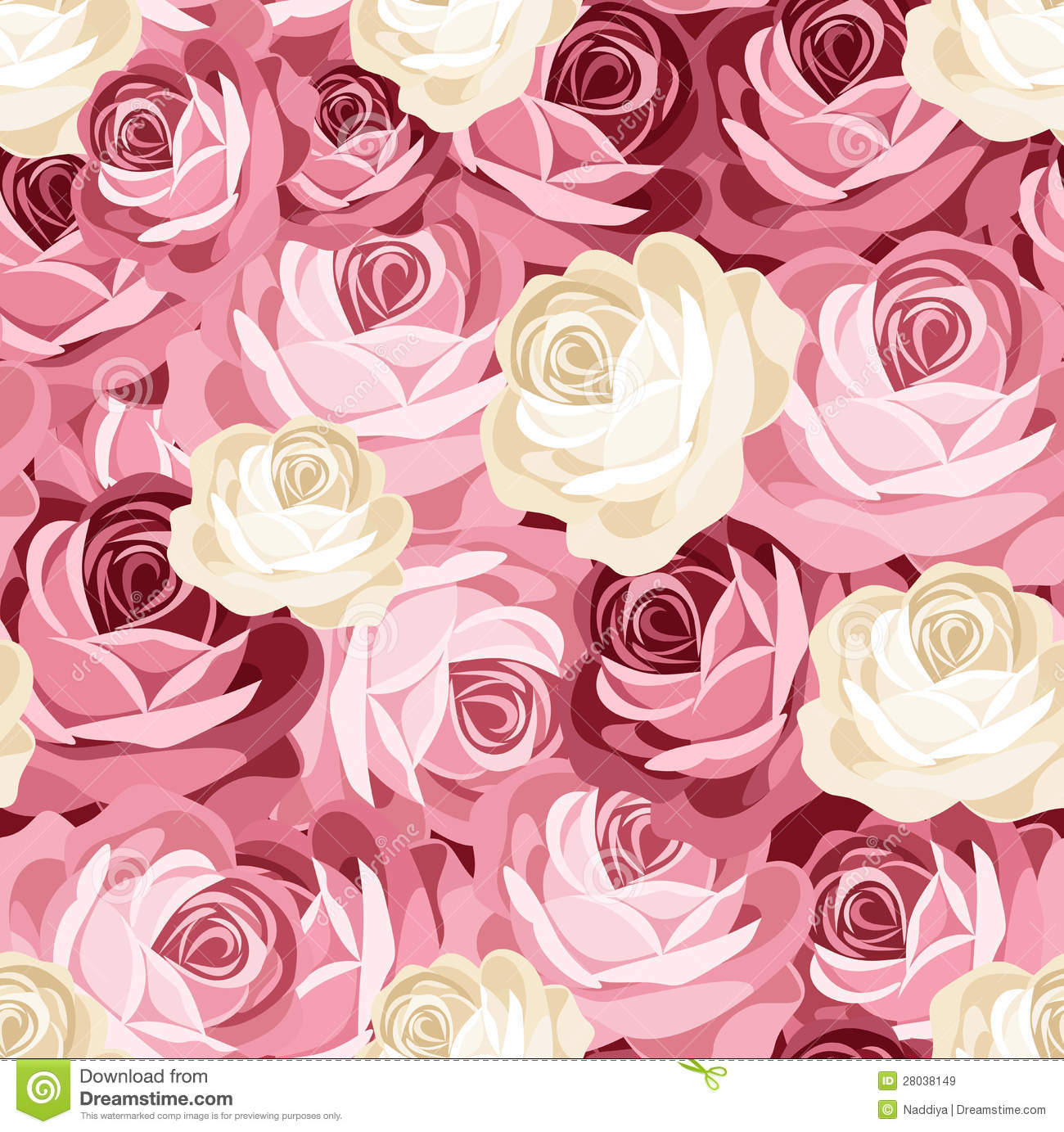 Seamless Pattern With Pink And White Roses Stock Vector