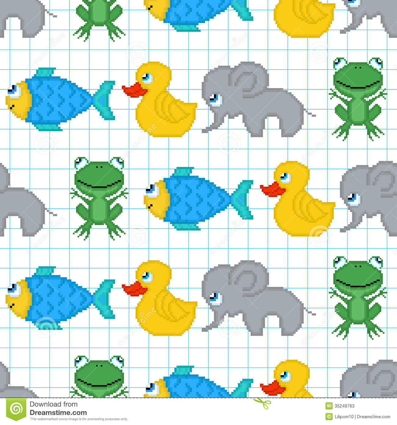 Seamless pattern with pixel animals stock photos image for Pixel people interior designer