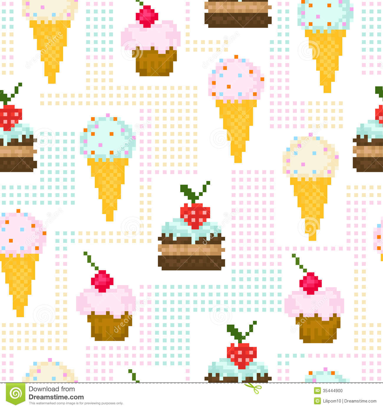 Seamless pattern with pixel sweets stock vector image for Pixel people interior designer