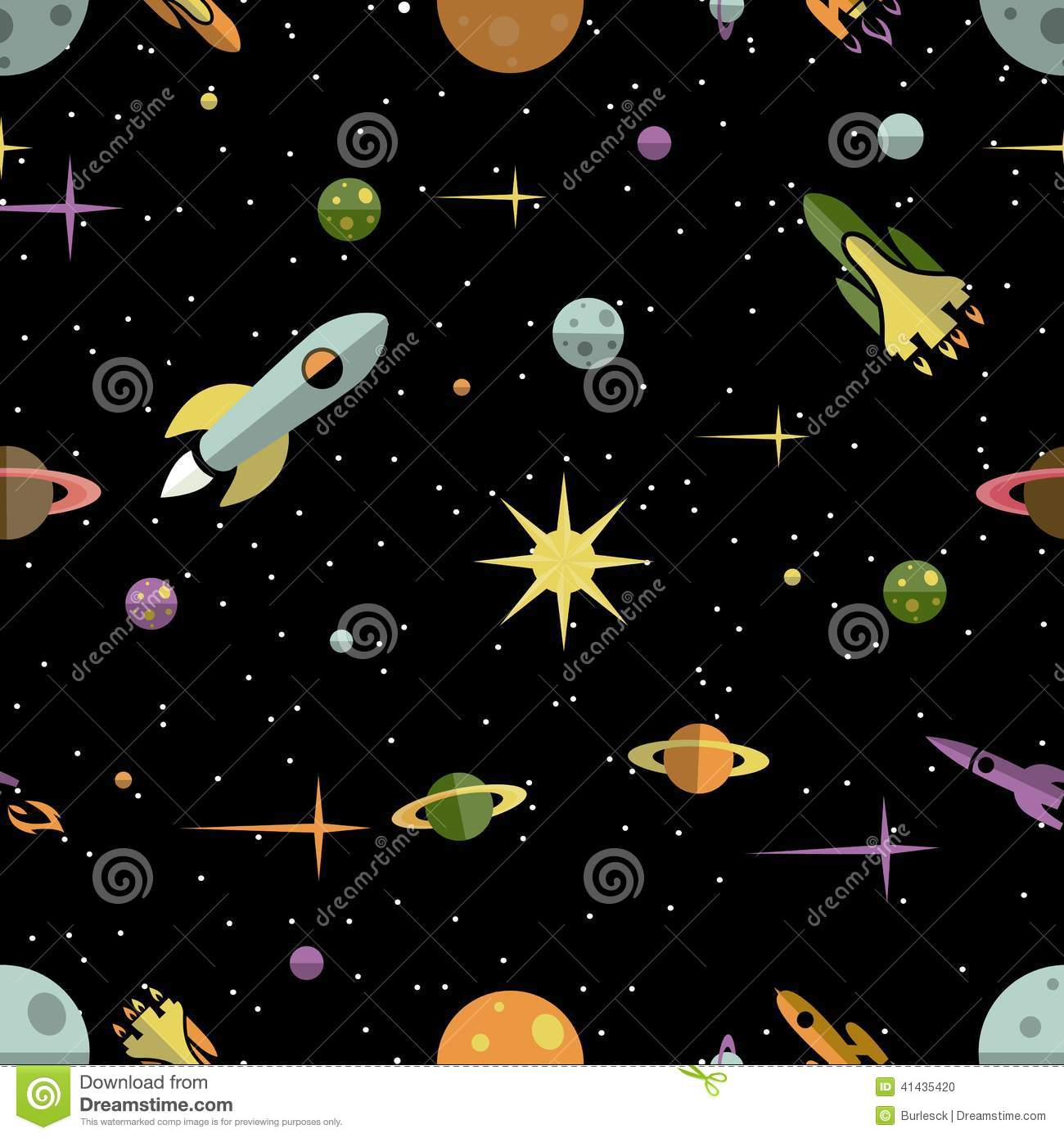 Seamless pattern with planets rockets and stars stock for Outer space pattern