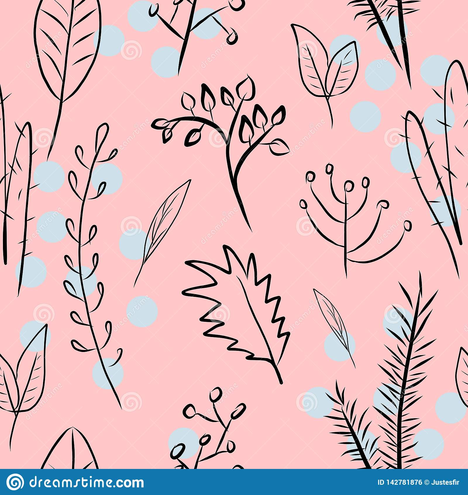 Seamless Pattern With Plants Branches Leaves On Pink Background
