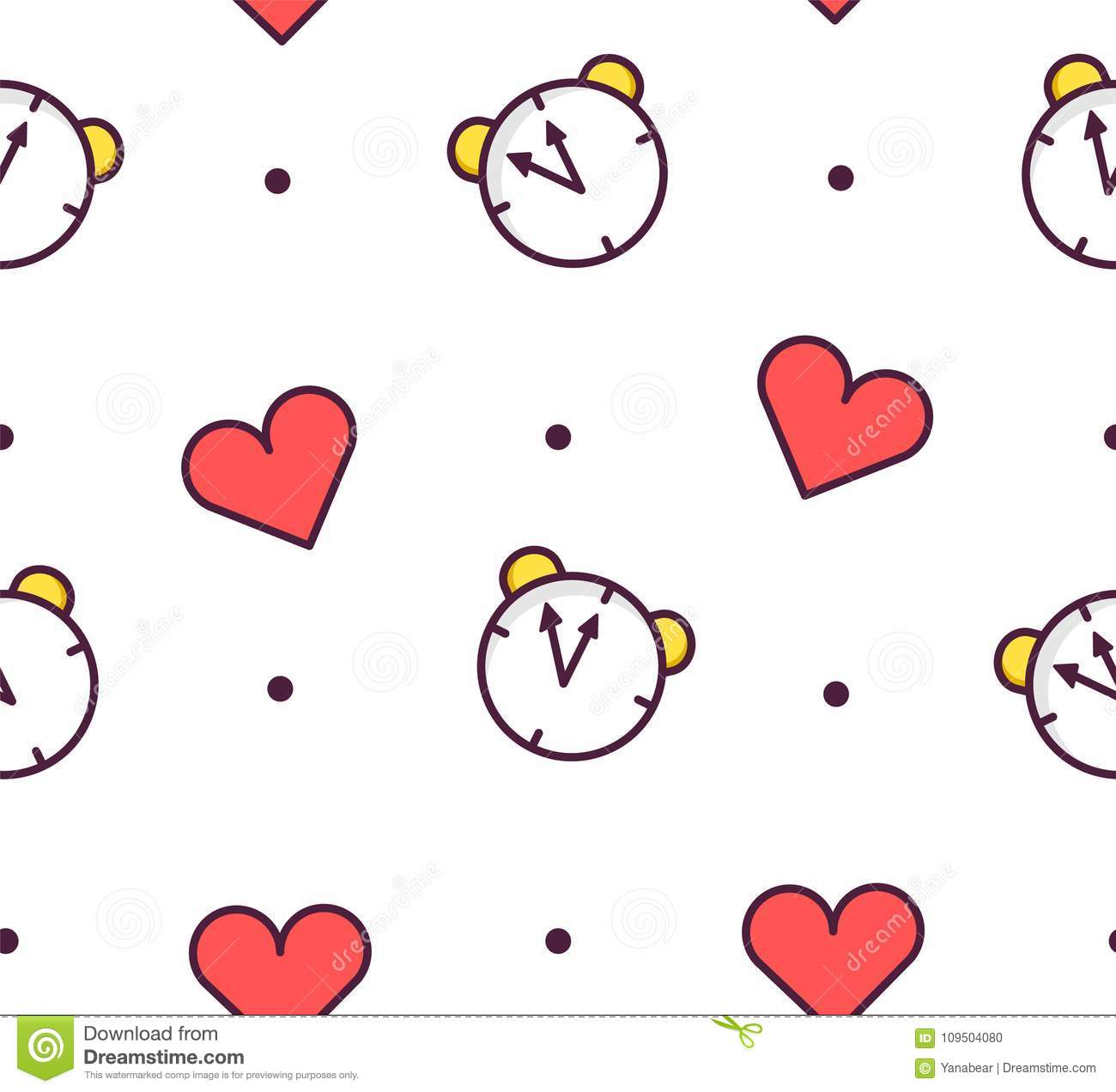 Seamless pattern in polka dot with alarm clock and hearts on white background. Thin line flat design. Vector