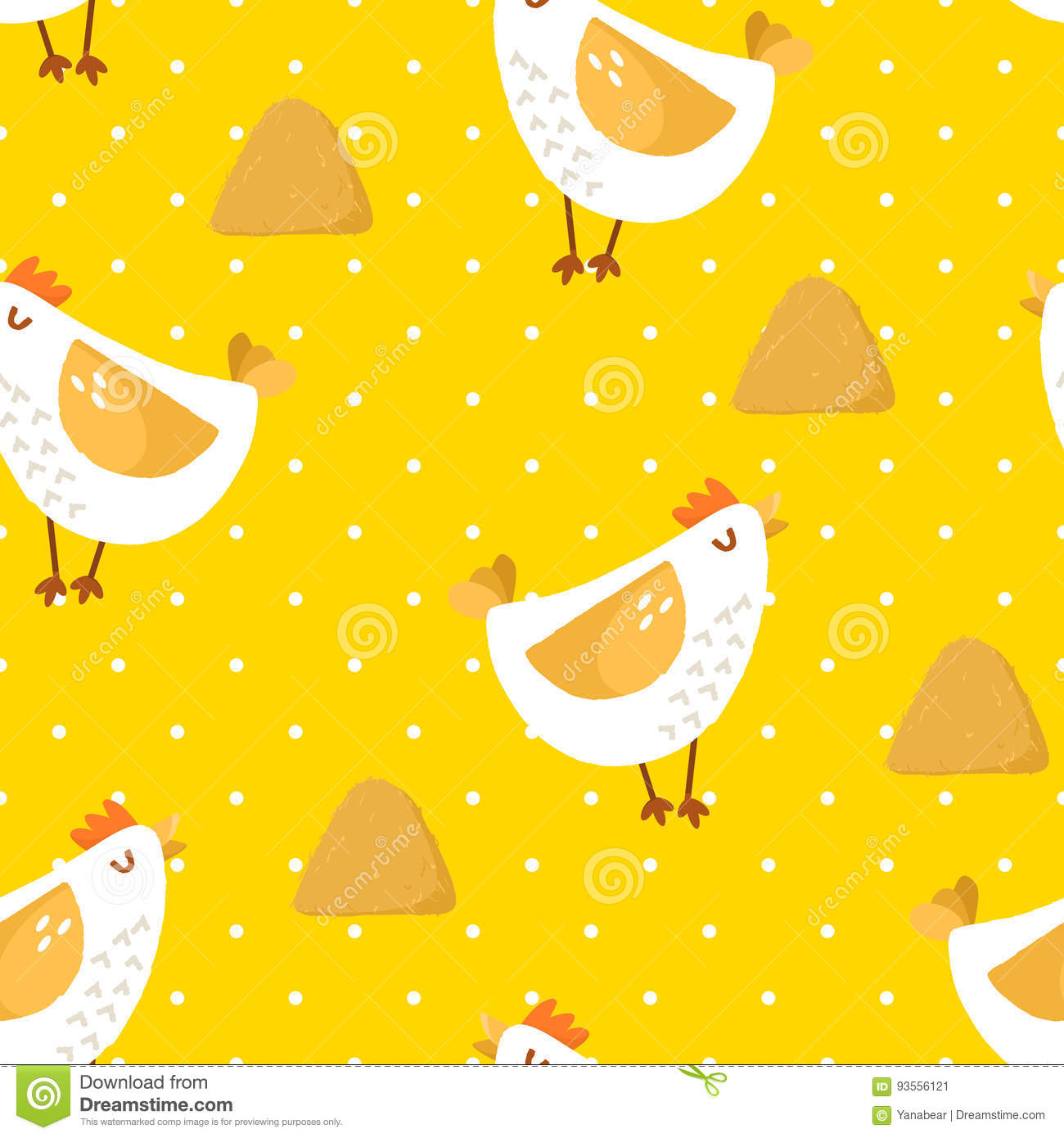 Seamless Pattern In Polka Dot With Cartoon Chicken And