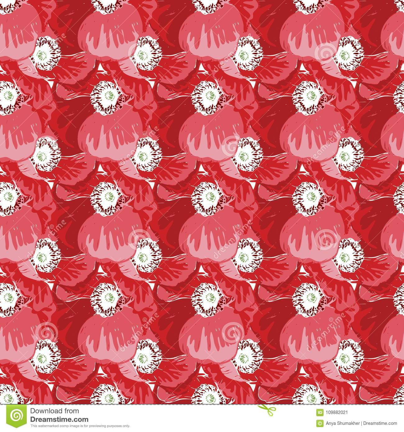 Seamless Pattern With Poppies Flower. Vector Set Of Blooming Floral ...