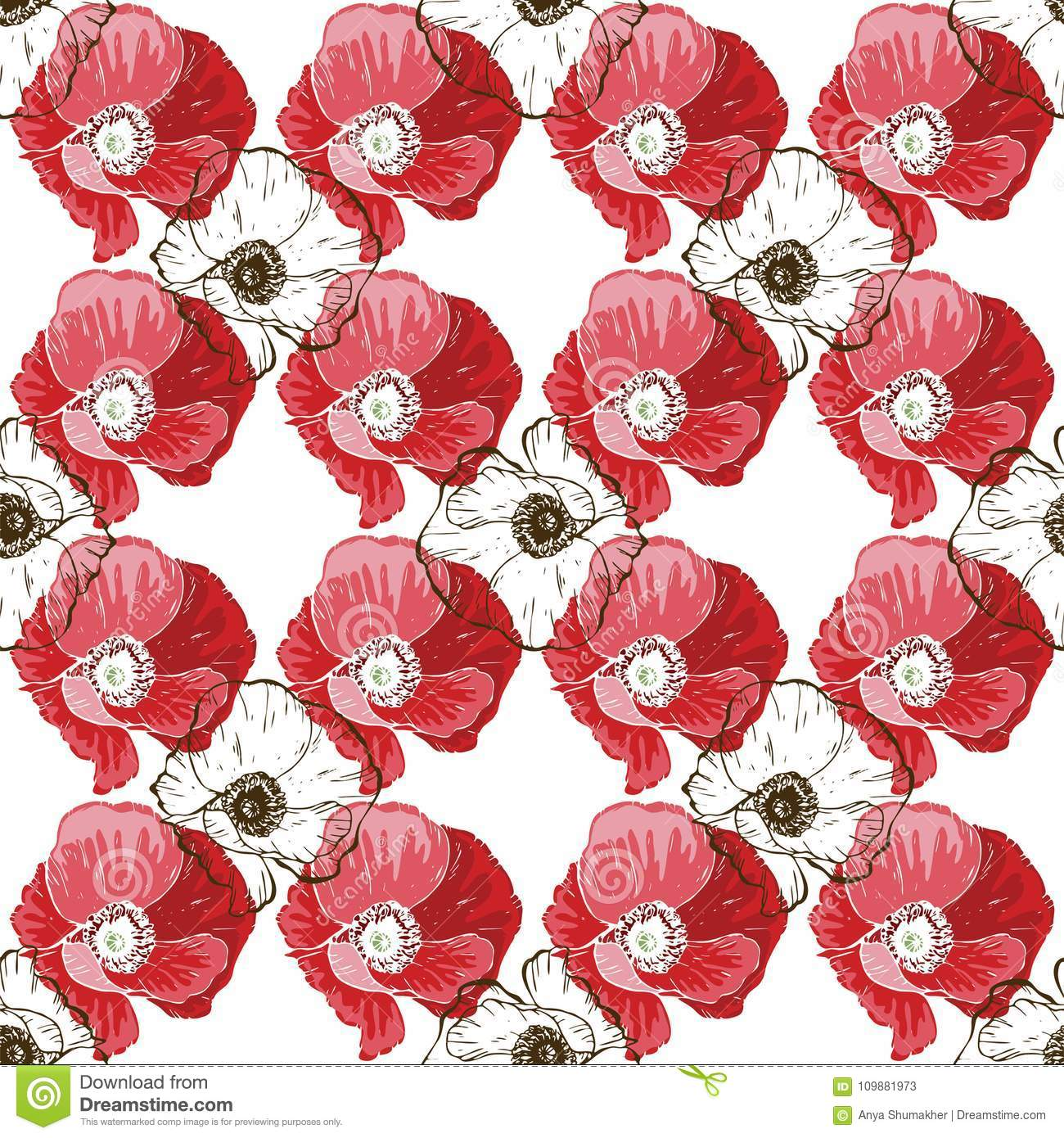 Seamless Pattern With Poppies Flower On White Background. Vector Set ...