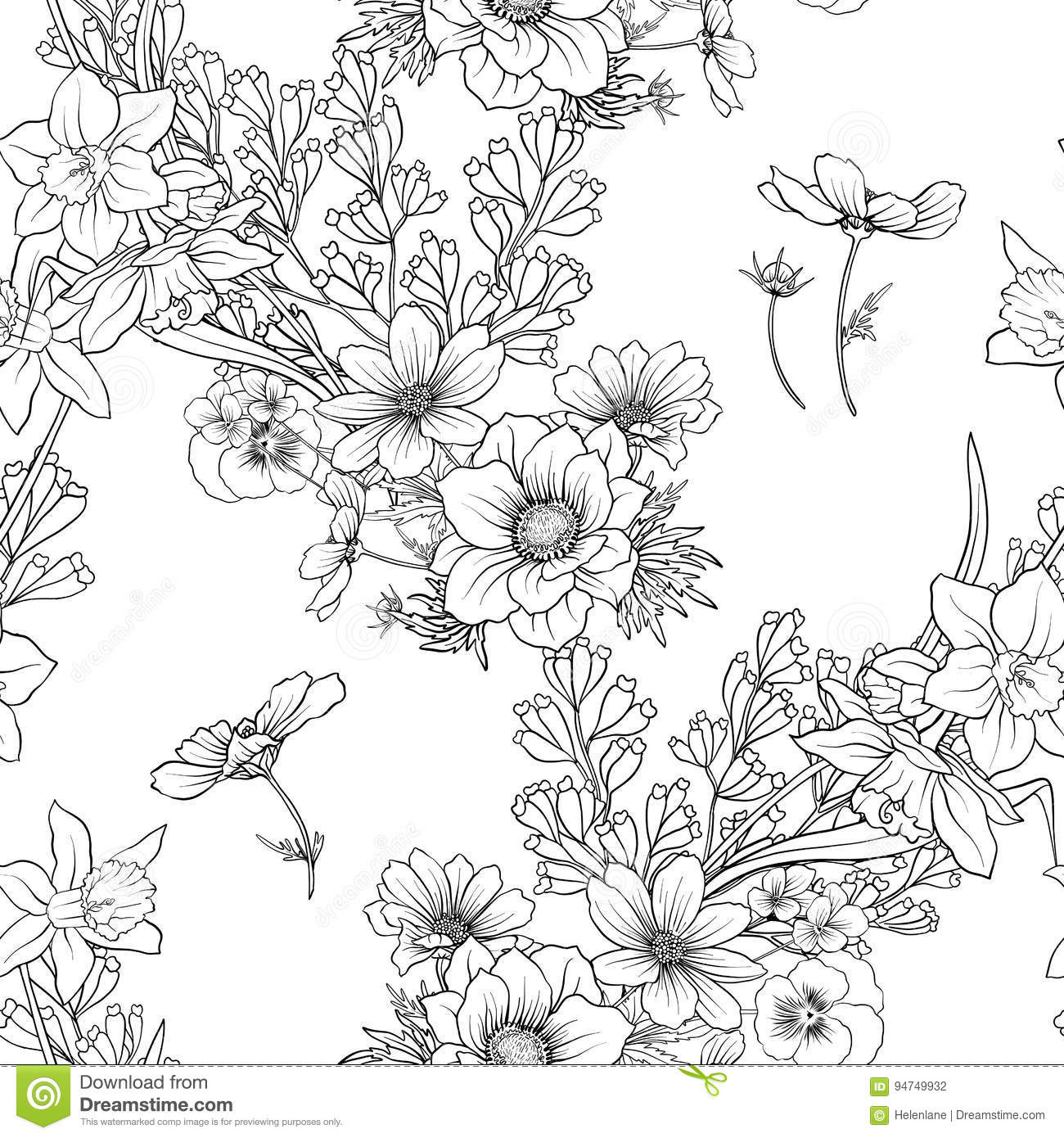 seamless pattern with poppy flowers daffodil anemone violet in