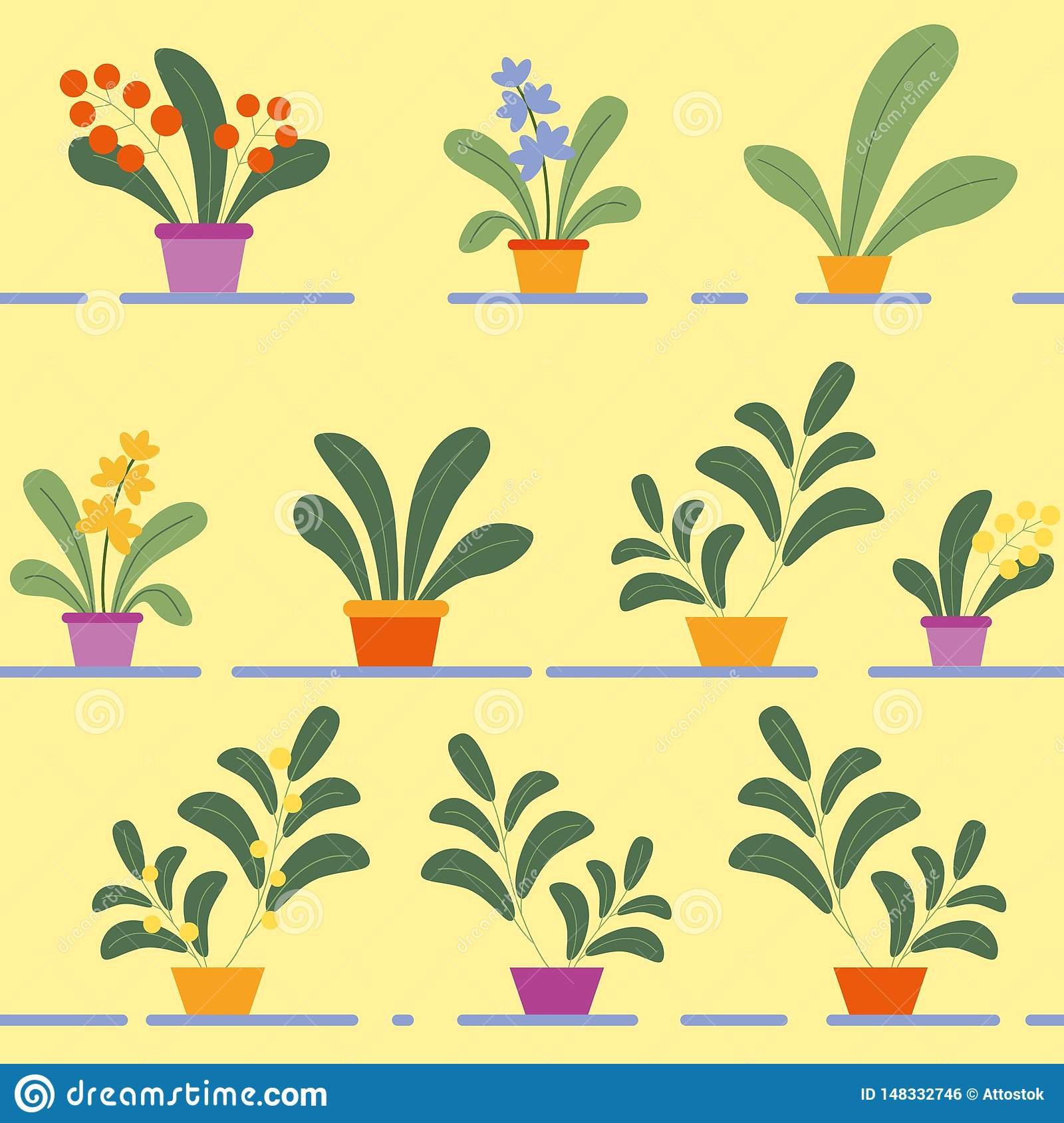 Seamless Pattern of Potted Flowering House Plants
