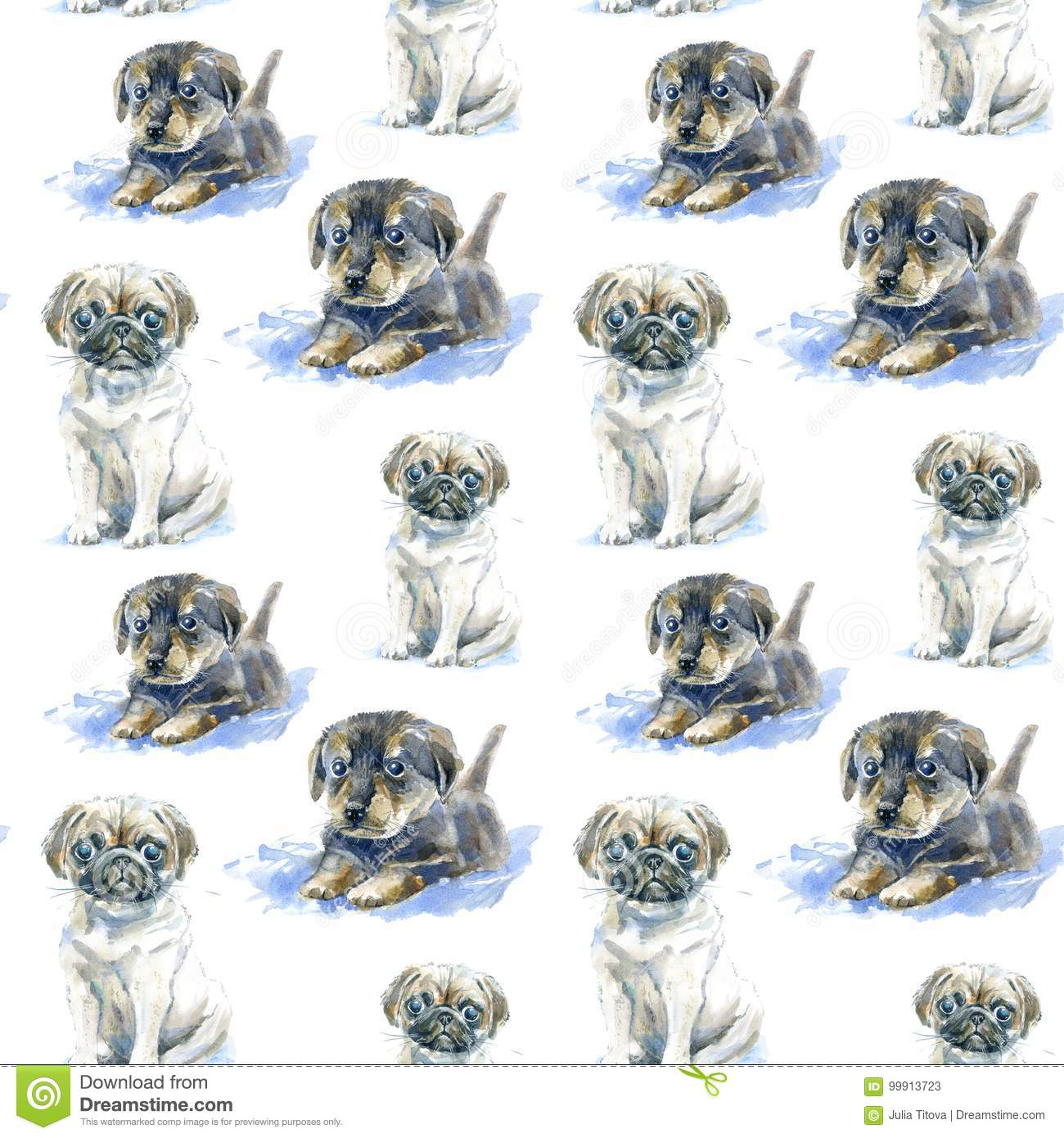 Seamless Pattern Of A Pug Puppy And Dachshund Puppy Stock