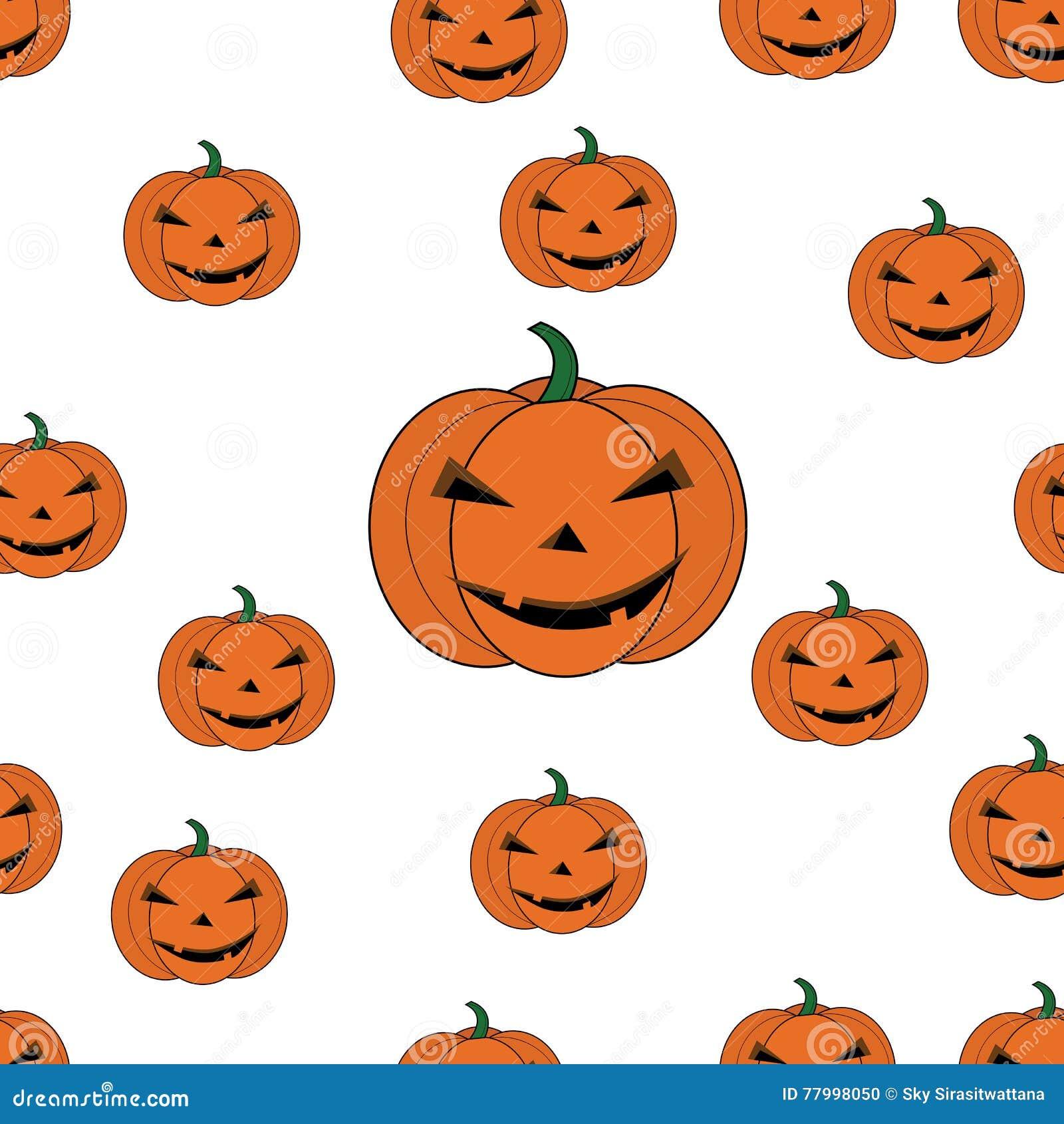 Seamless Pattern Pumpkin Cartoon For Halloween Card Wallpaper Background Stock Vector Illustration Of Fruits Celebrations 77998050