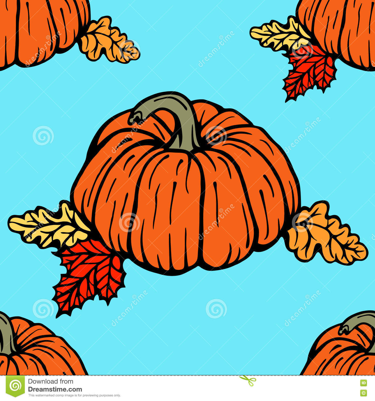 Seamless Pattern With Pumpkins Stock Vector - Illustration of beauty ...