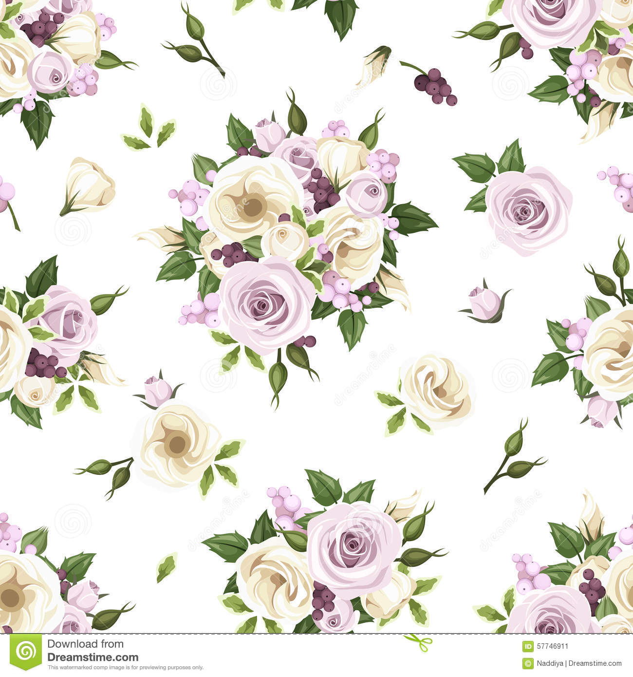 Seamless pattern with purple and white roses and lisianthus flowers download seamless pattern with purple and white roses and lisianthus flowers vector illustration stock altavistaventures Choice Image